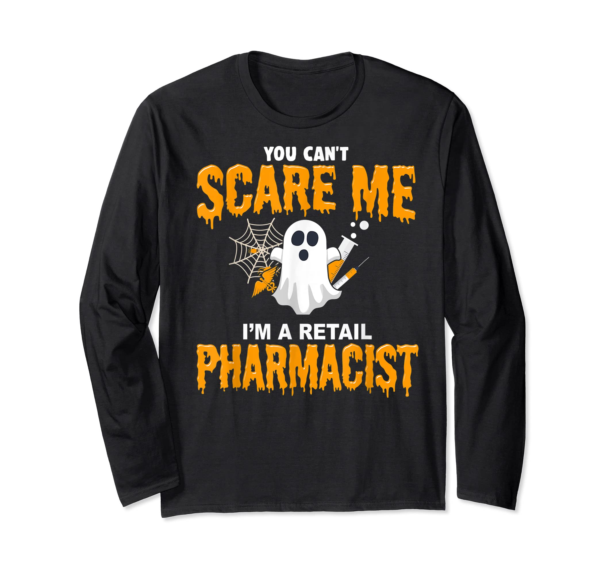 Halloween Costume Shirt I'm A Retail Pharmacist  T-Shirt-Long Sleeve-Black