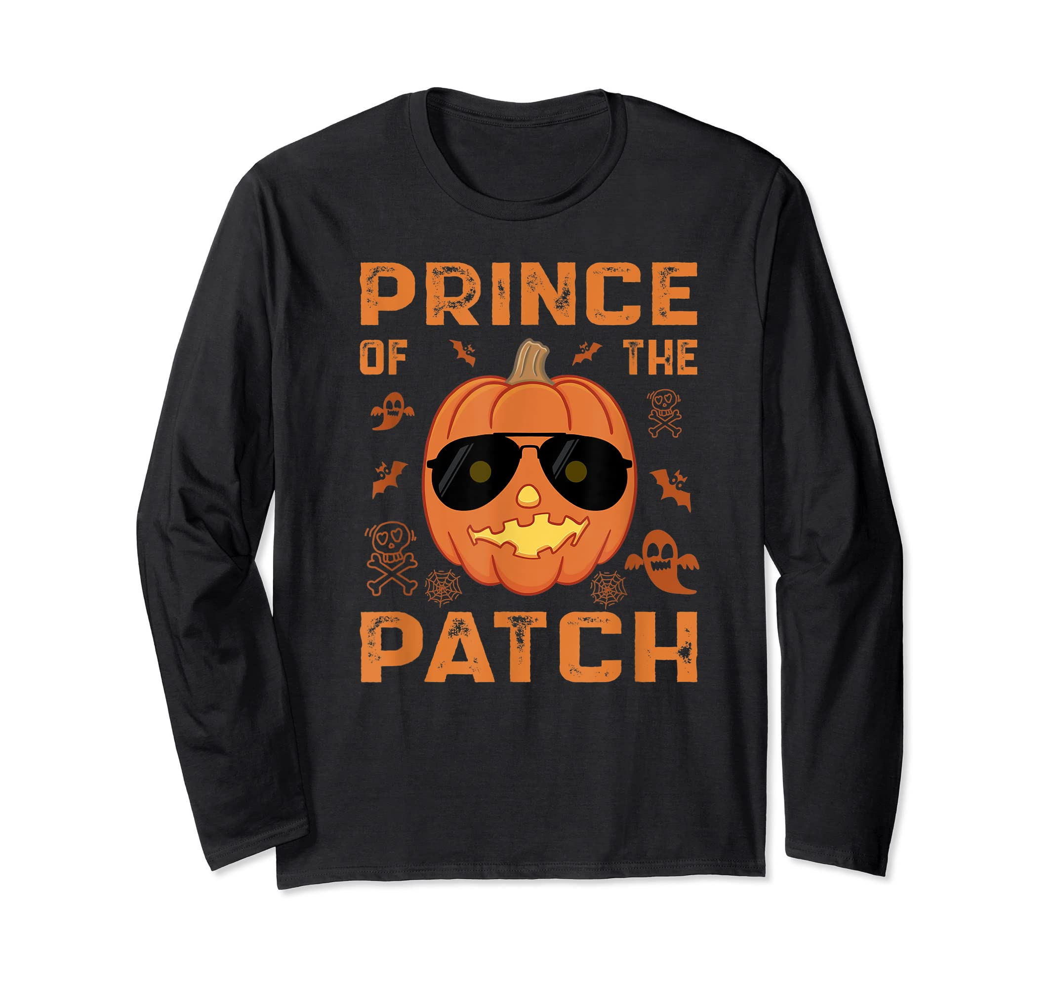 Pumpkin Prince of the Patch Group Family Halloween Costume T-Shirt-Long Sleeve-Black