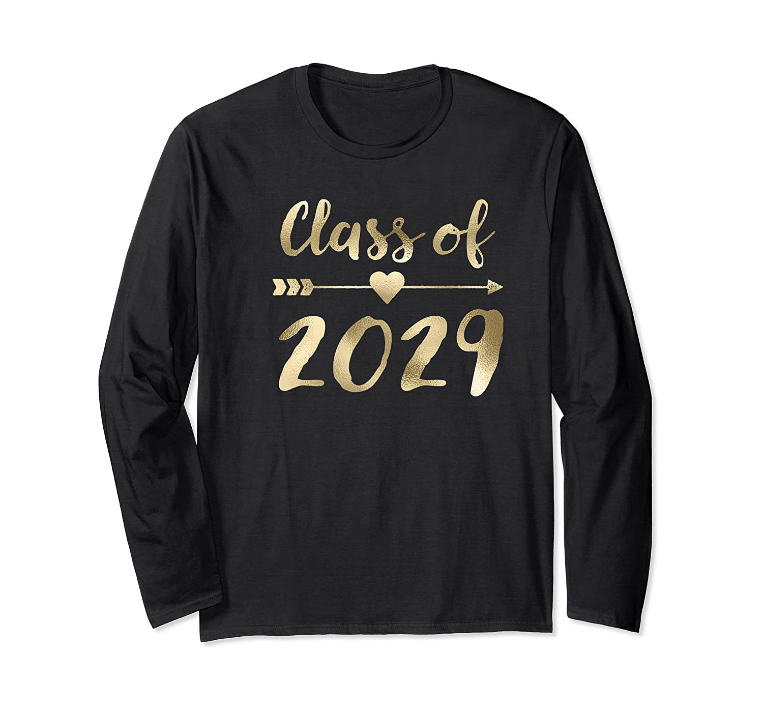 Class Of 2029 Grow With Me First Day Of School Gold Shirts Long Sleeve T-shirt