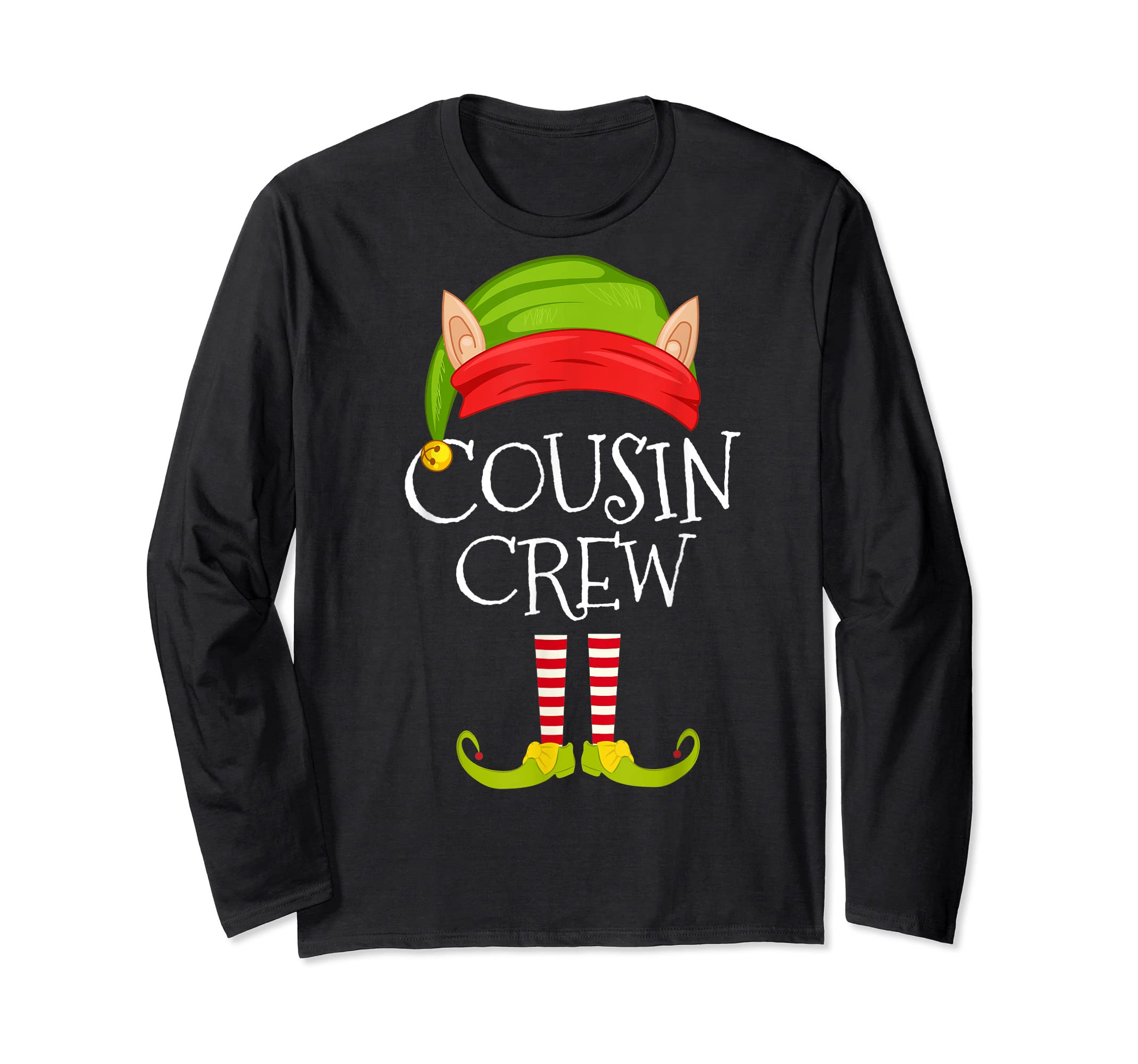 Christmas Family Matching Costume Cousin Crew Elf Xmas T-Shirt-Long Sleeve-Black