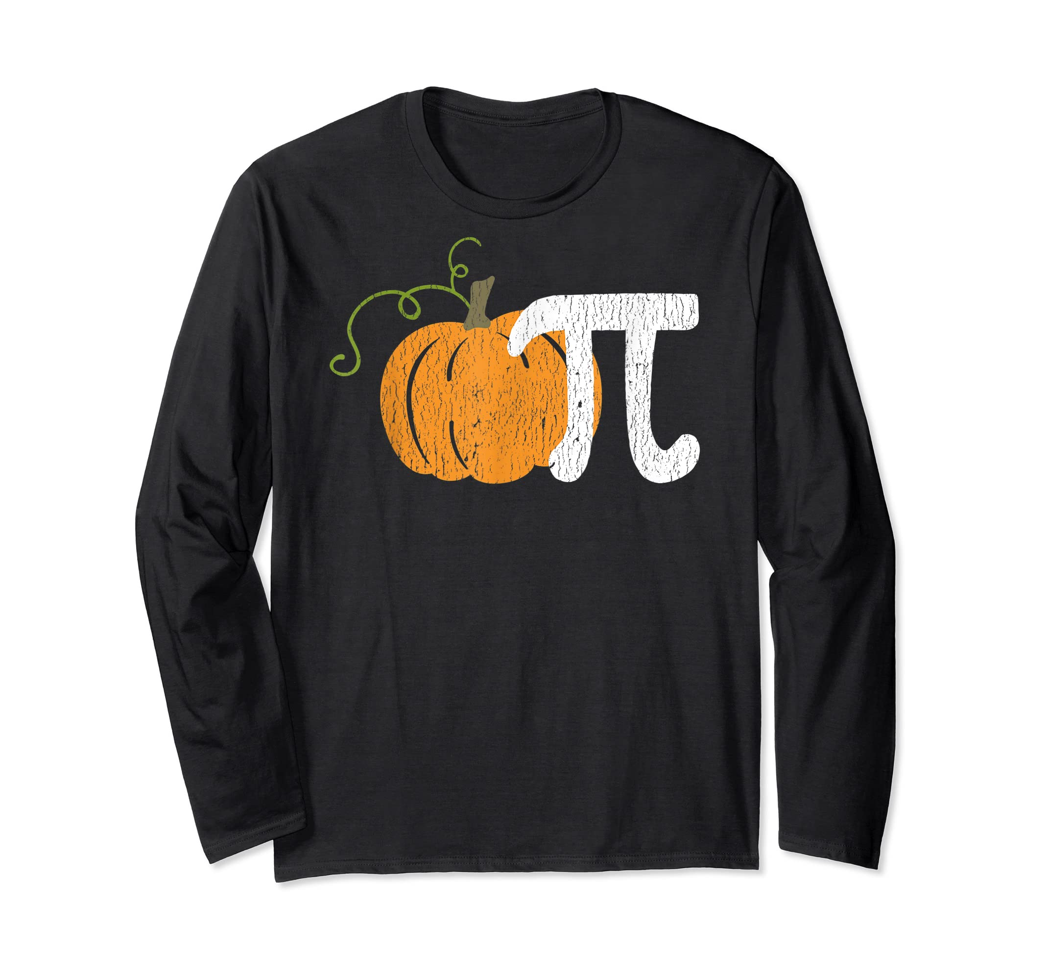 Funny Pumpkin Pie Math Teacher Halloween Pi Humor T-Shirt-Long Sleeve-Black