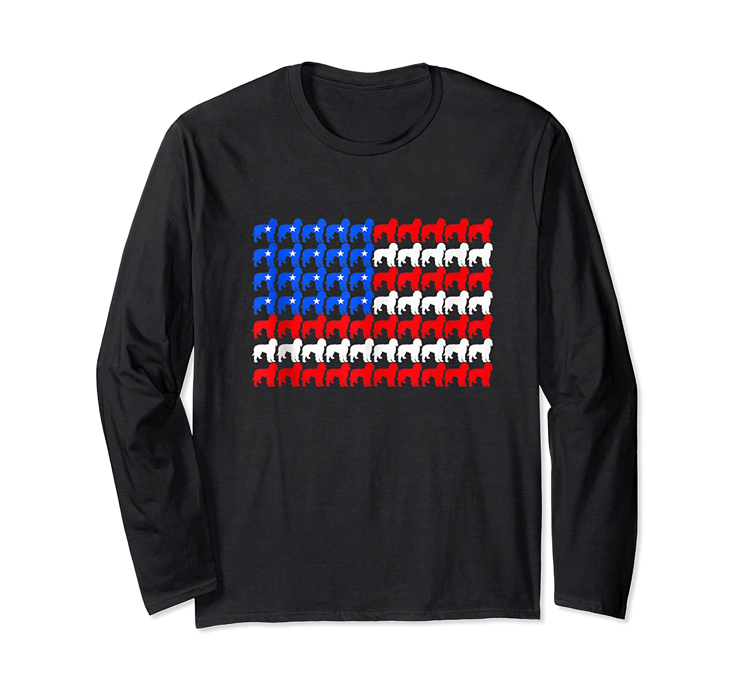 Goldendoodle 4th Of July Usa American Flag Patriotic Dog Shirts Long Sleeve T-shirt