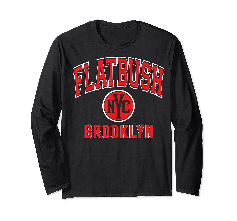 Flatbush Varsity Style Nyc Red Print T Shirt Long Sleeve T-shirt