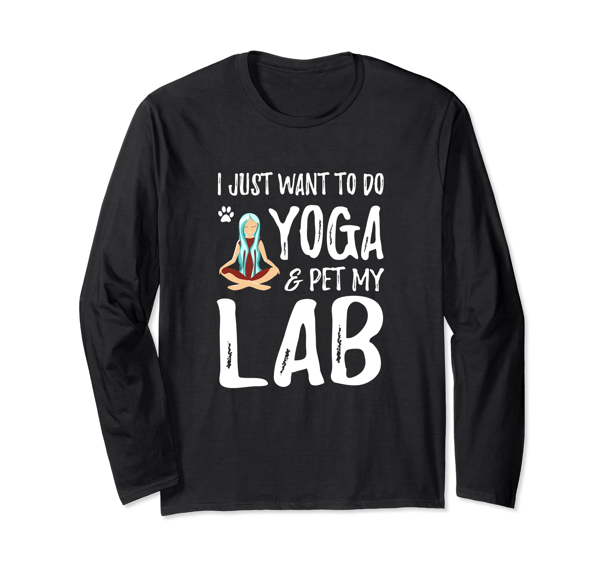 Amazon.com: Yoga Lab Long Sleeve Shirt as Funny Labrador Dog ...