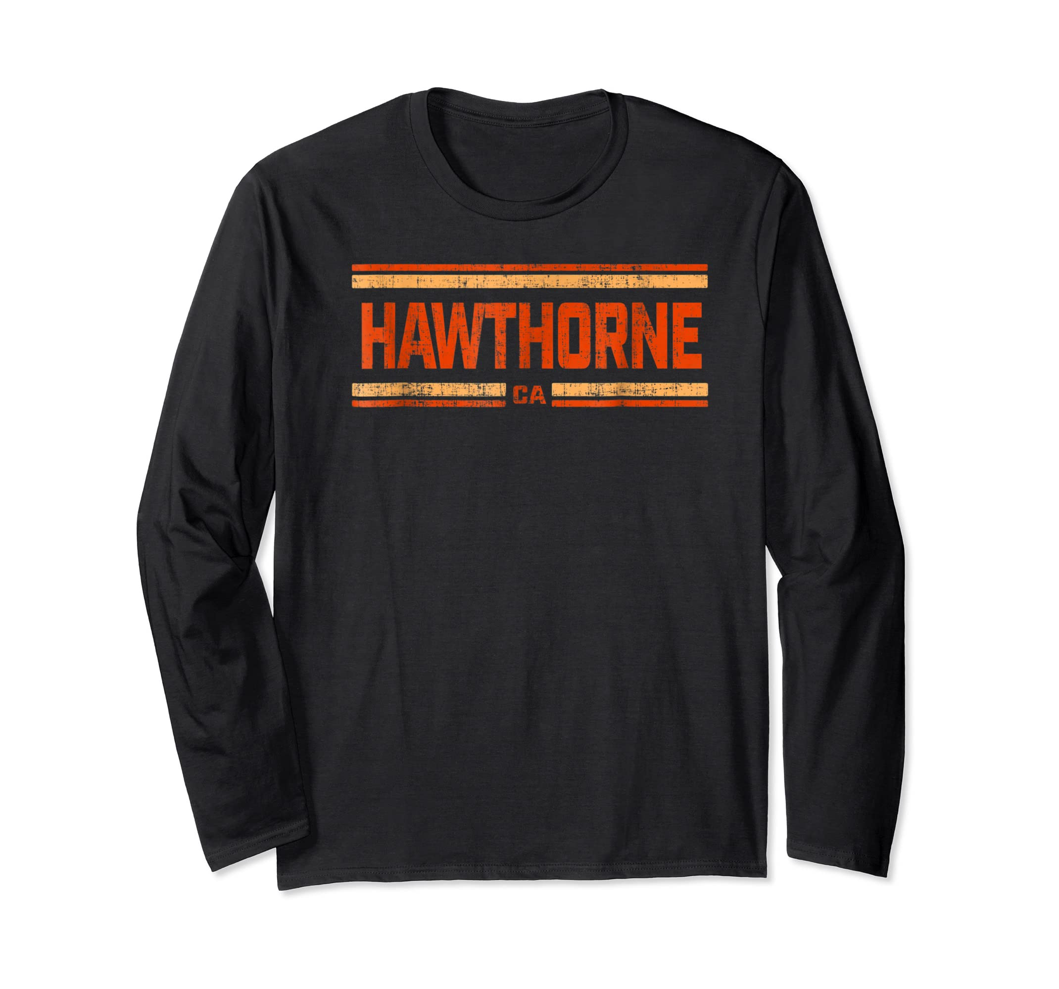 Retro Vintage Hawthorne CA Distressed T-Shirt-Long Sleeve-Black