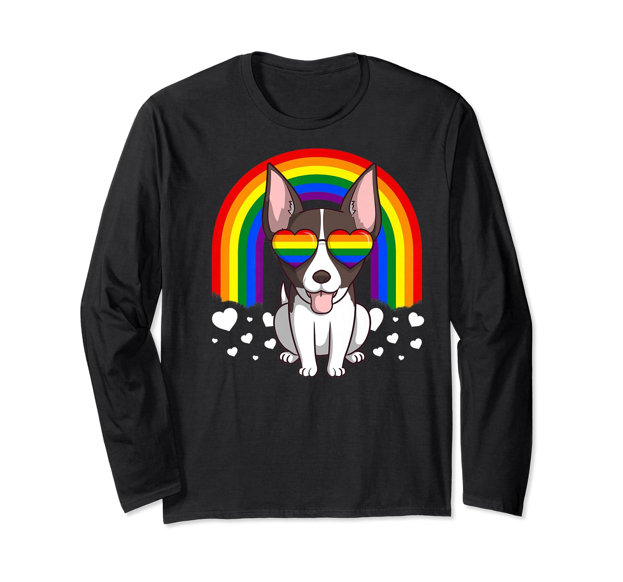 LGBT Rat Terrier Dog Gay Pride Rainbow LGBTQ Cute Gift Premium T-Shirt-Long Sleeve-Black