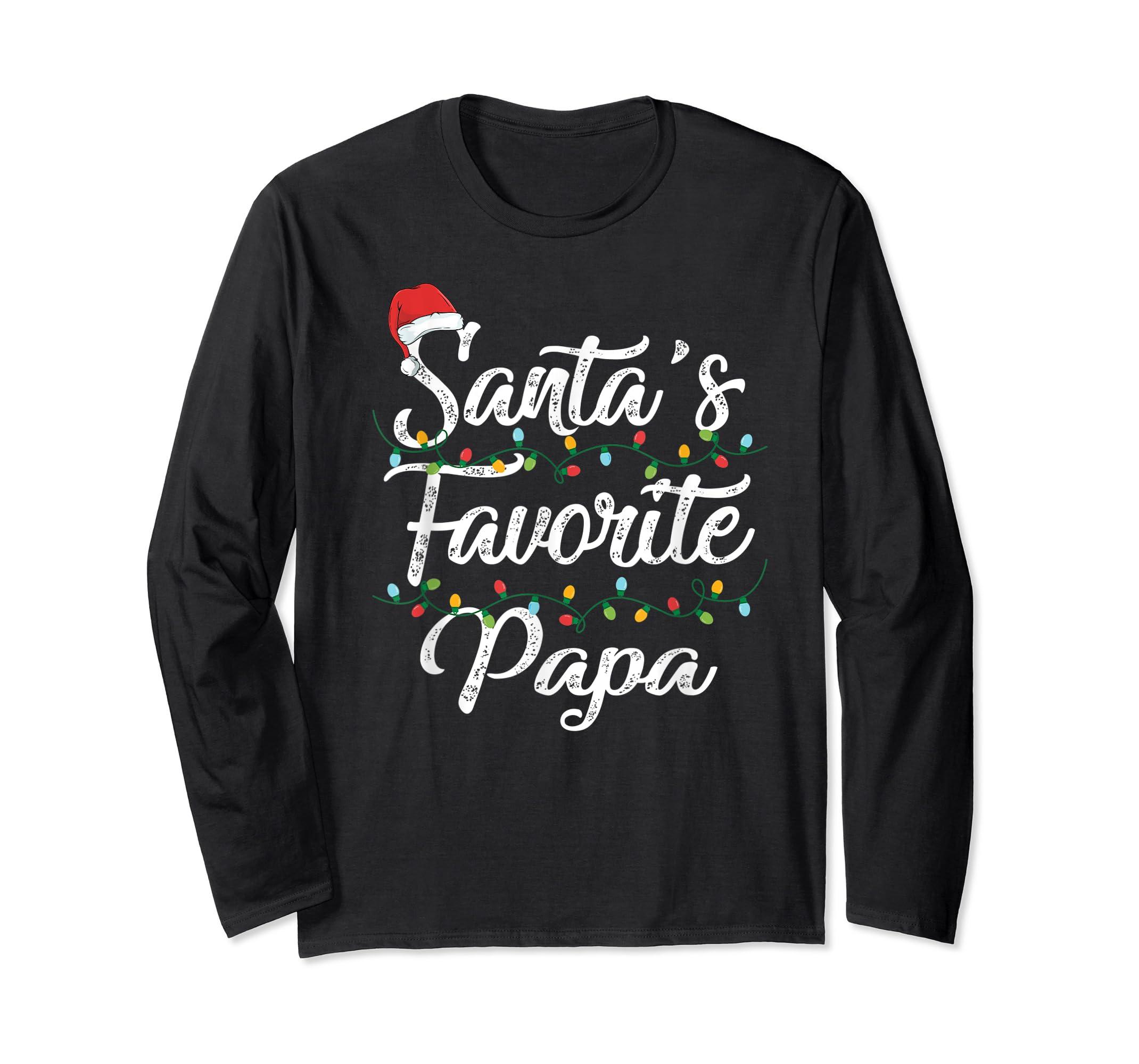 Santa's Favorite Papa Christmas Santa Hat Light T-Shirt-Long Sleeve-Black