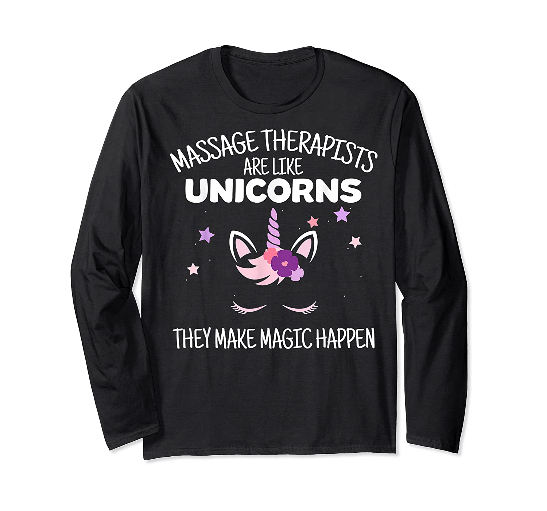 Funny Massage Therapist Unicorn For Gift Shirts Long Sleeve T-shirt
