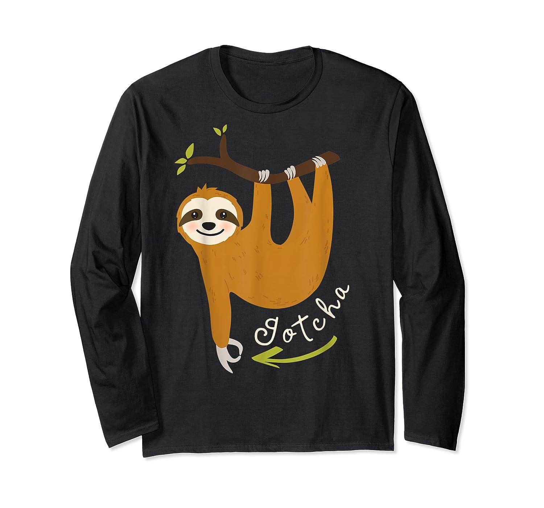 Finger Circle Game Cute Sloth Funny Made You Look Prank T-shirt Long Sleeve T-shirt