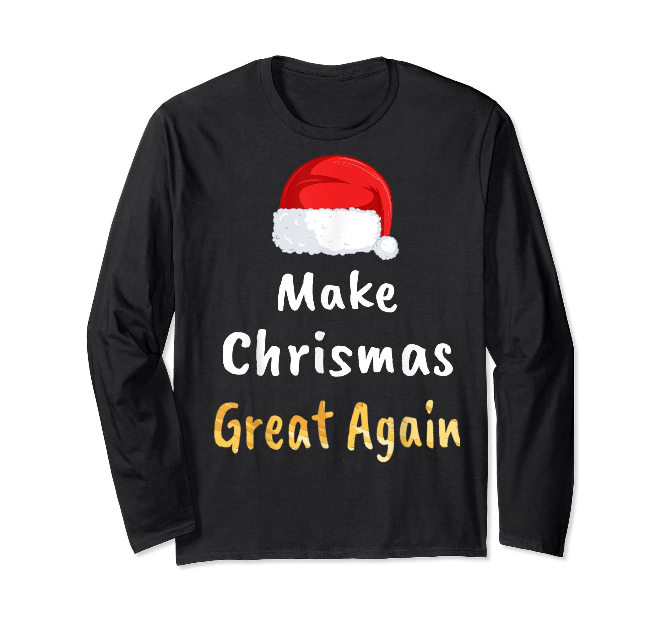 Awesome Make Christmas Great Again Trump Hat Xmas Gift T-Shirt-Long Sleeve-Black