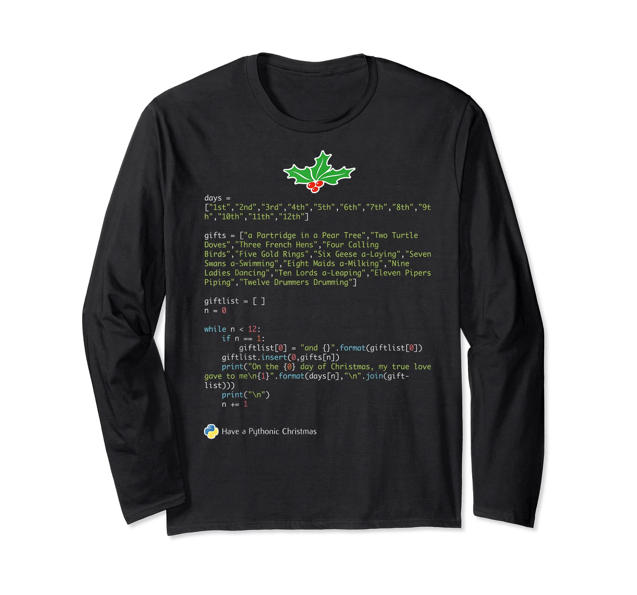 Geek Christmas Xmas - 12 Days of Python T-Shirt-Long Sleeve-Black