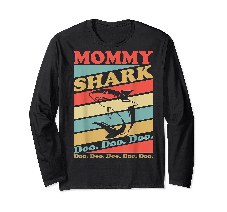 Retro Vintage Mommy Shark Grandma Mather's Day Gifts Shirts Long Sleeve T-shirt