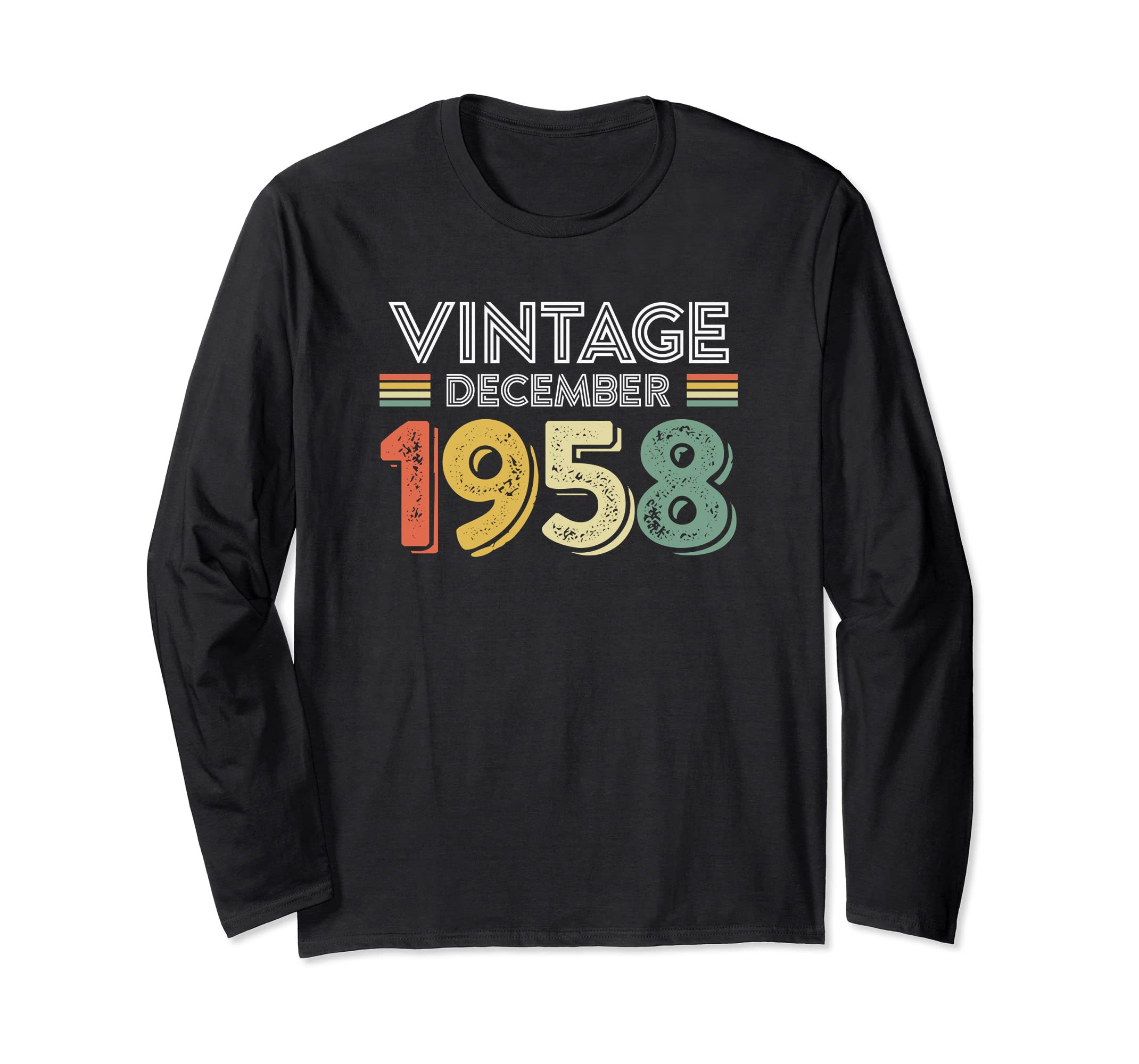 77684fc3d Amazon.com: Vintage December 1958 Year Birthday Gift Long Sleeve T-Shirt:  Clothing