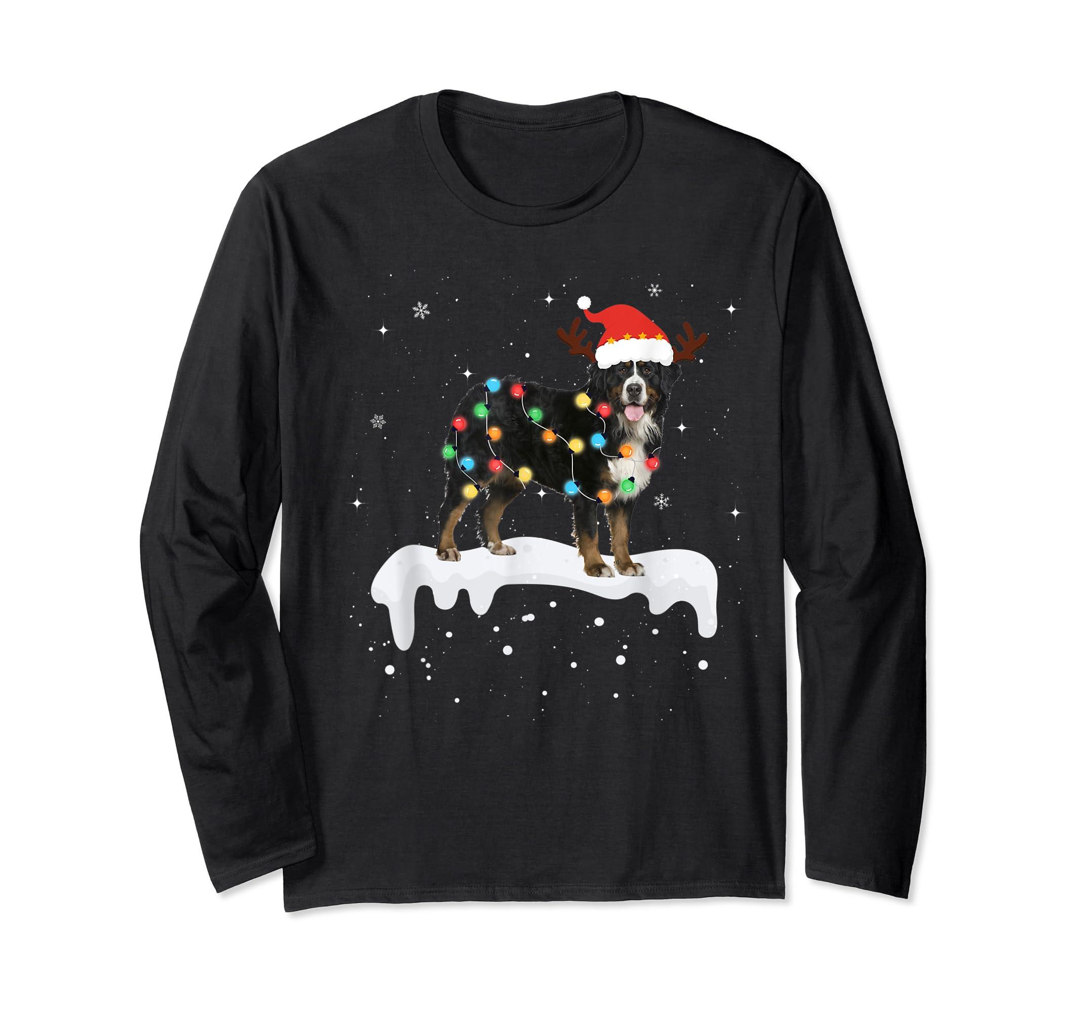 Bernese Mountain Christmas Lights Cute Dog Lover Gift T-Shirt-Long Sleeve-Black