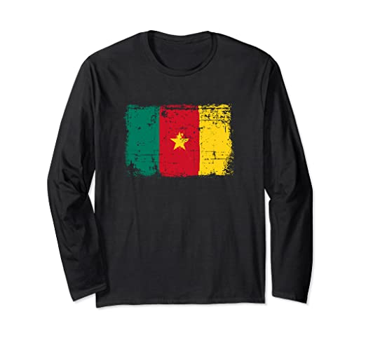 36da2cd94 Amazon.com  Cameroon Flag Long Sleeve Distressed Vintage Style  Clothing