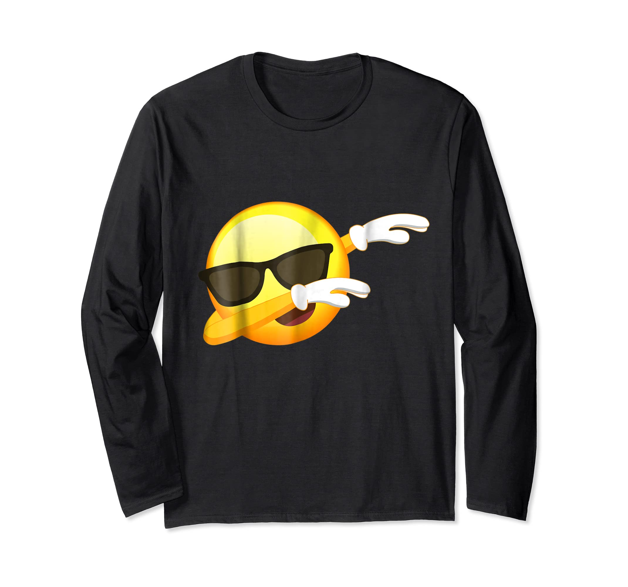Funny Dabbing Emoji Shirt - Cool Emoji Dab T-Shirt-Long Sleeve-Black