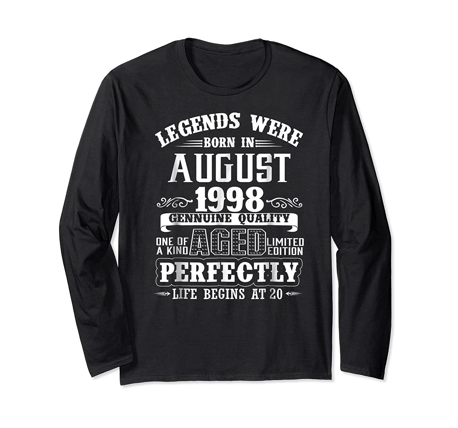 August 1998 20th Birthday Gift Shirt 20 Years Old  Long Sleeve T-shirt