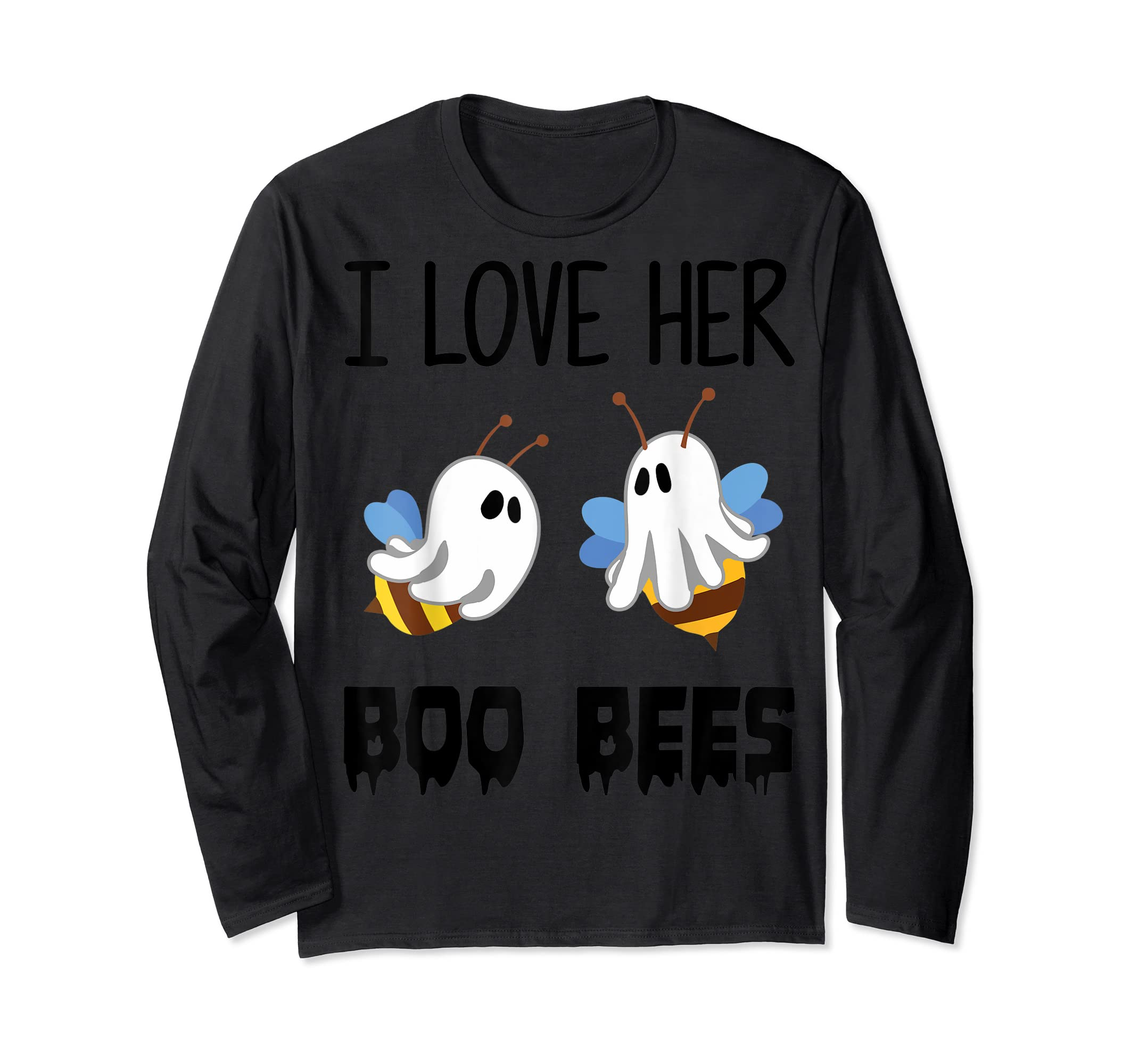 I Love Her Boo Bees Couples Funny Halloween Costume Gift T-Shirt-Long Sleeve-Black
