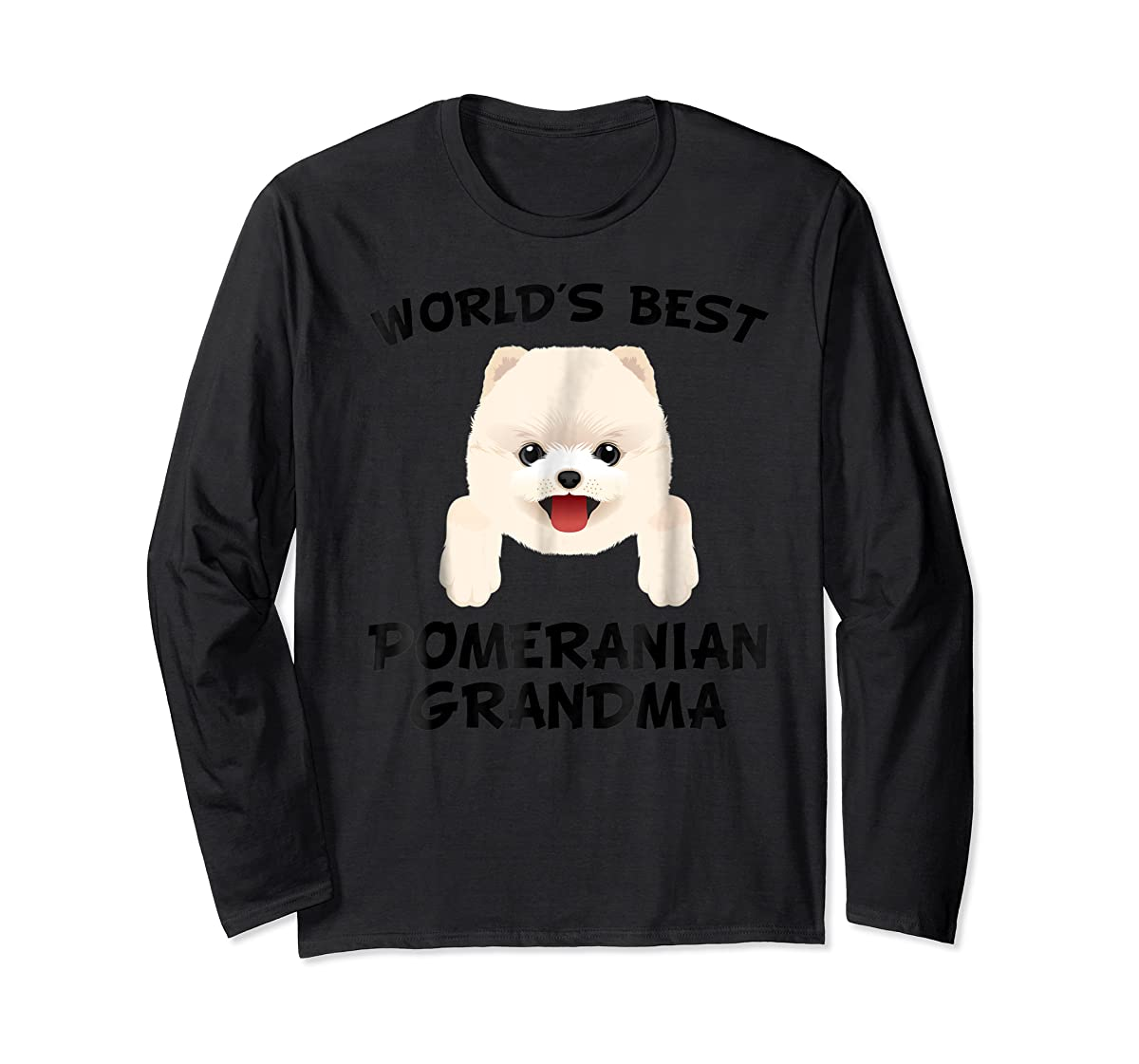 World's Best Pomeranian Grandma Dog Granddog T-Shirt-Long Sleeve-Black