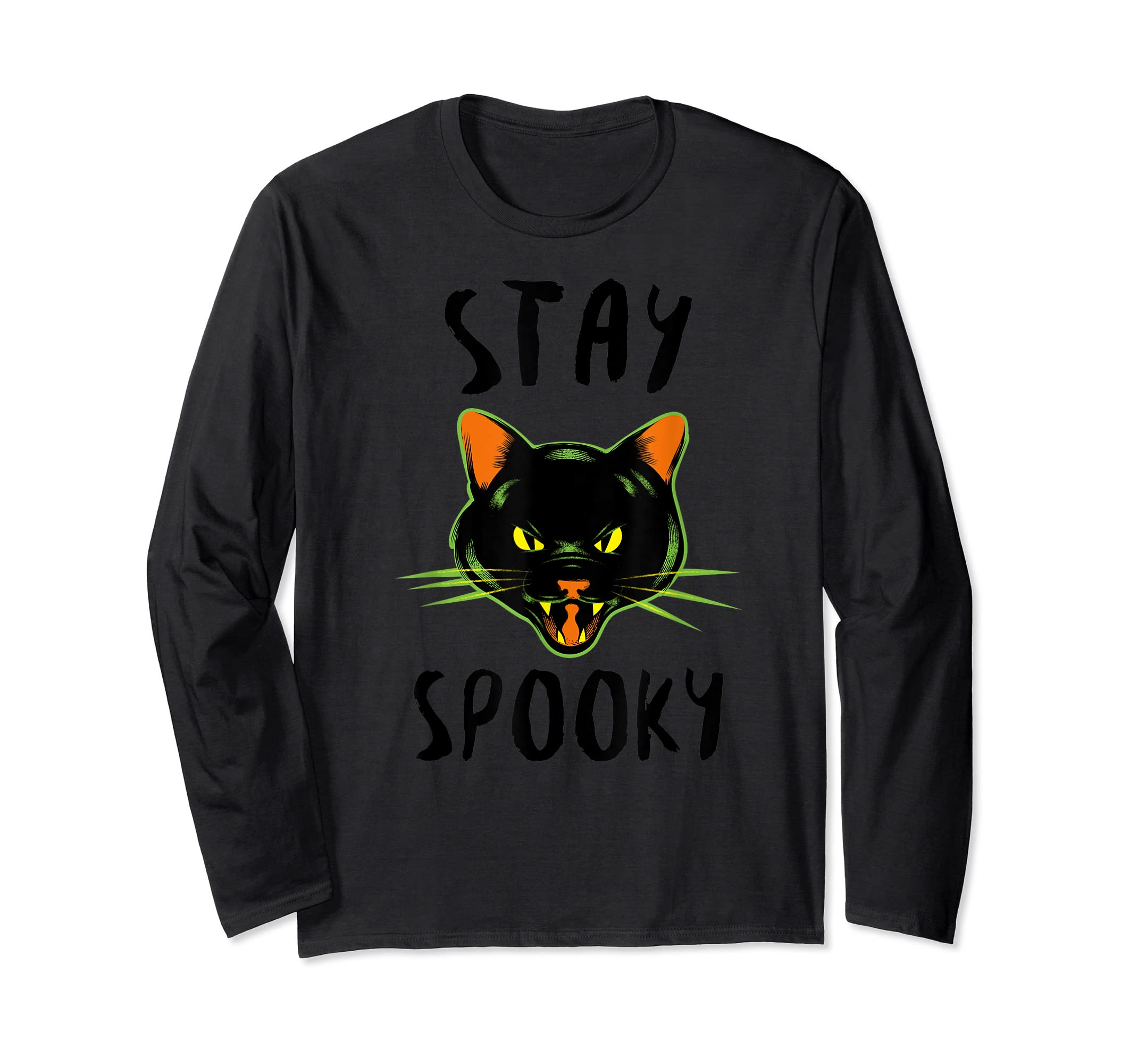 Stay Spooky | Scary Halloween Black Cat T-Shirt-Long Sleeve-Black