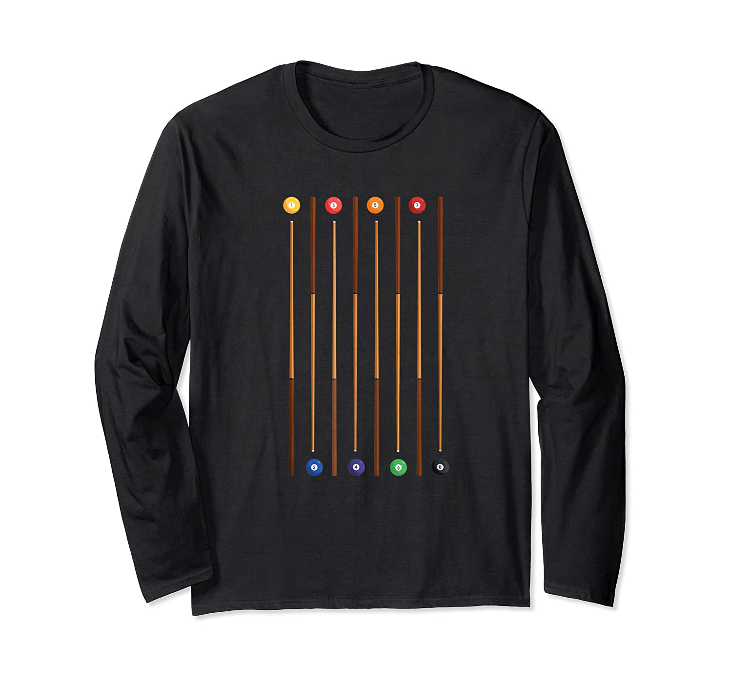 Biliard Cue Stick And 8 Pool Balls Awesome Game Shirts Long Sleeve T-shirt