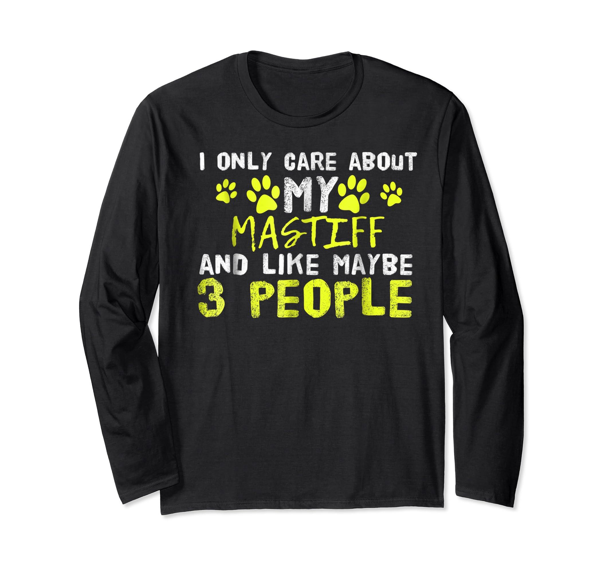 Mastiff Dog Shirt Introvert Love My Dog Tee-Long Sleeve-Black