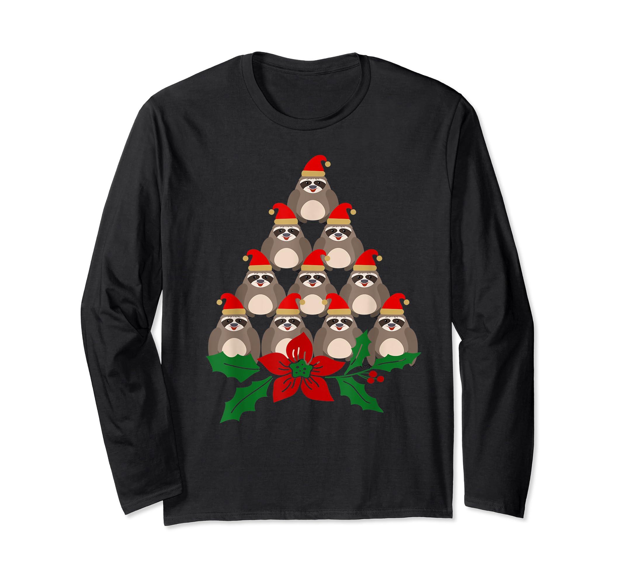 Sloth Christmas Tree Xmas Lover T-Shirt-Long Sleeve-Black