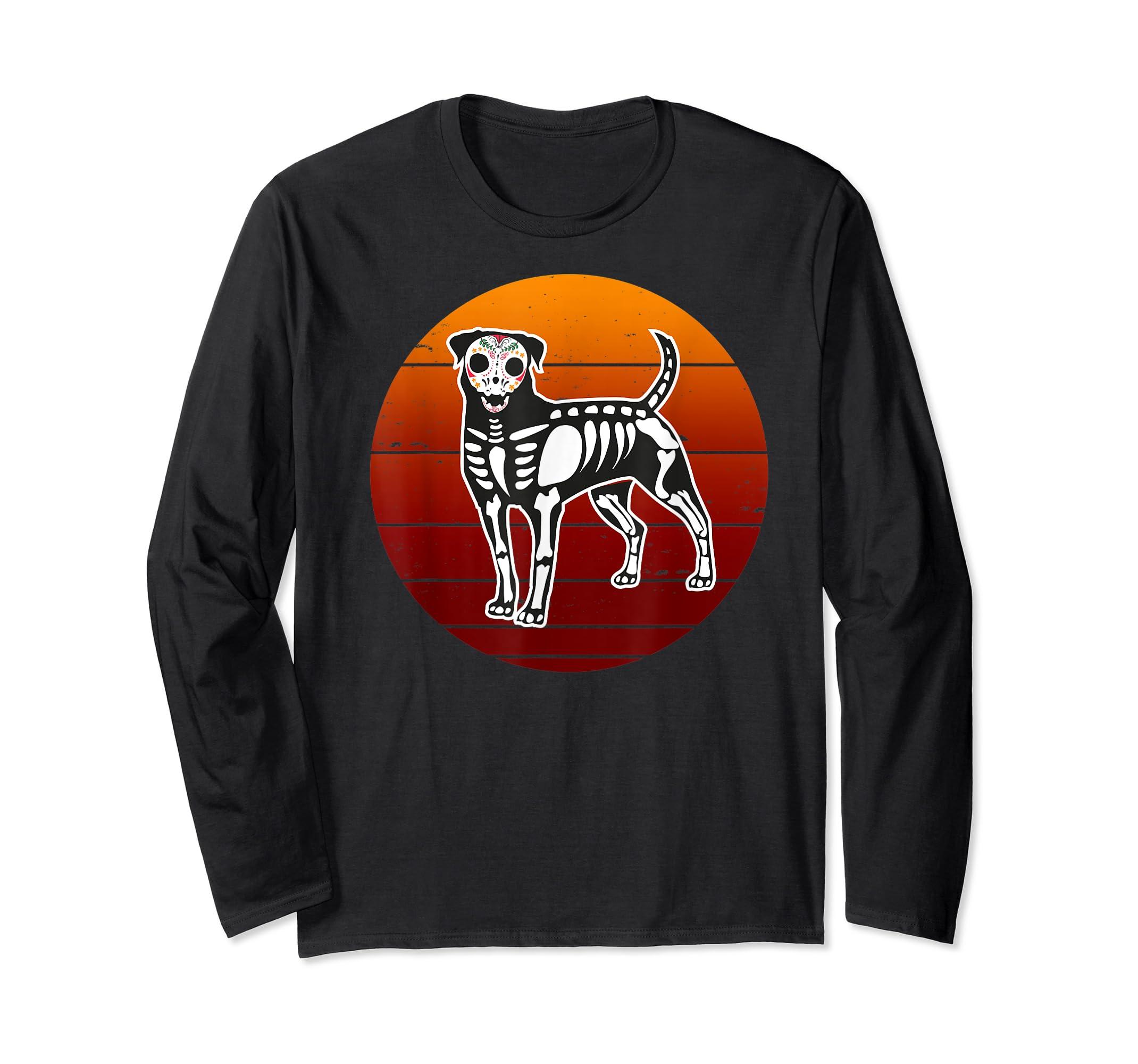 Rottweiler Skeleton Halloween T-Shirt-Long Sleeve-Black