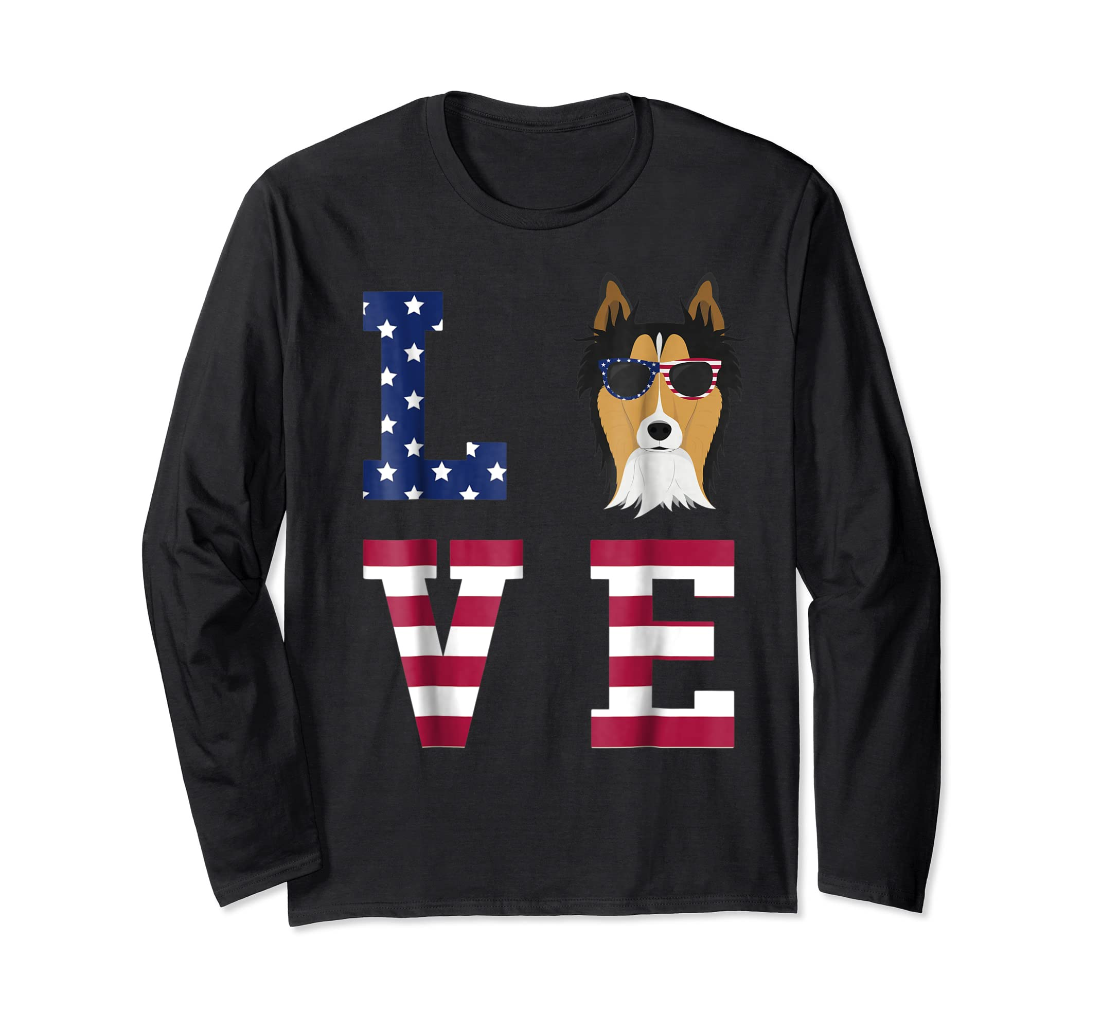 Collie Dog - 4th Of July T-Shirt-Long Sleeve-Black