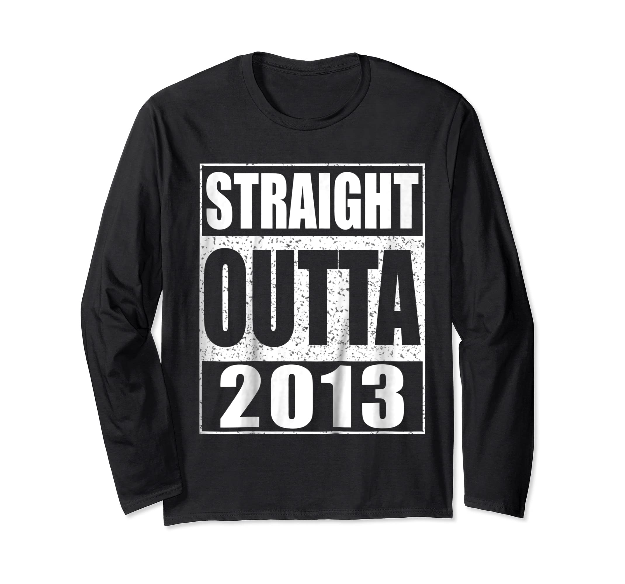 Kids Straight Outta 2013 T-Shirt 6th Birthday Gift Shirt-Long Sleeve-Black