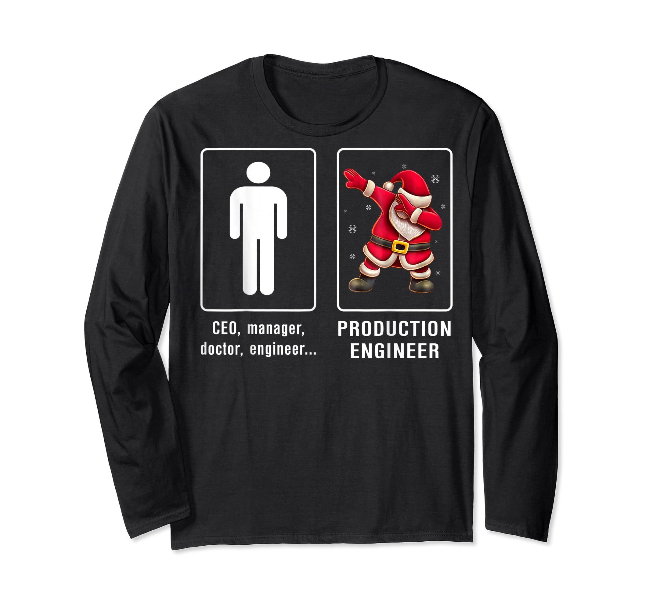 PRODUCTION ENGINEER Santa Dab T-shirt Funny Christmas T-Shirt-Long Sleeve-Black