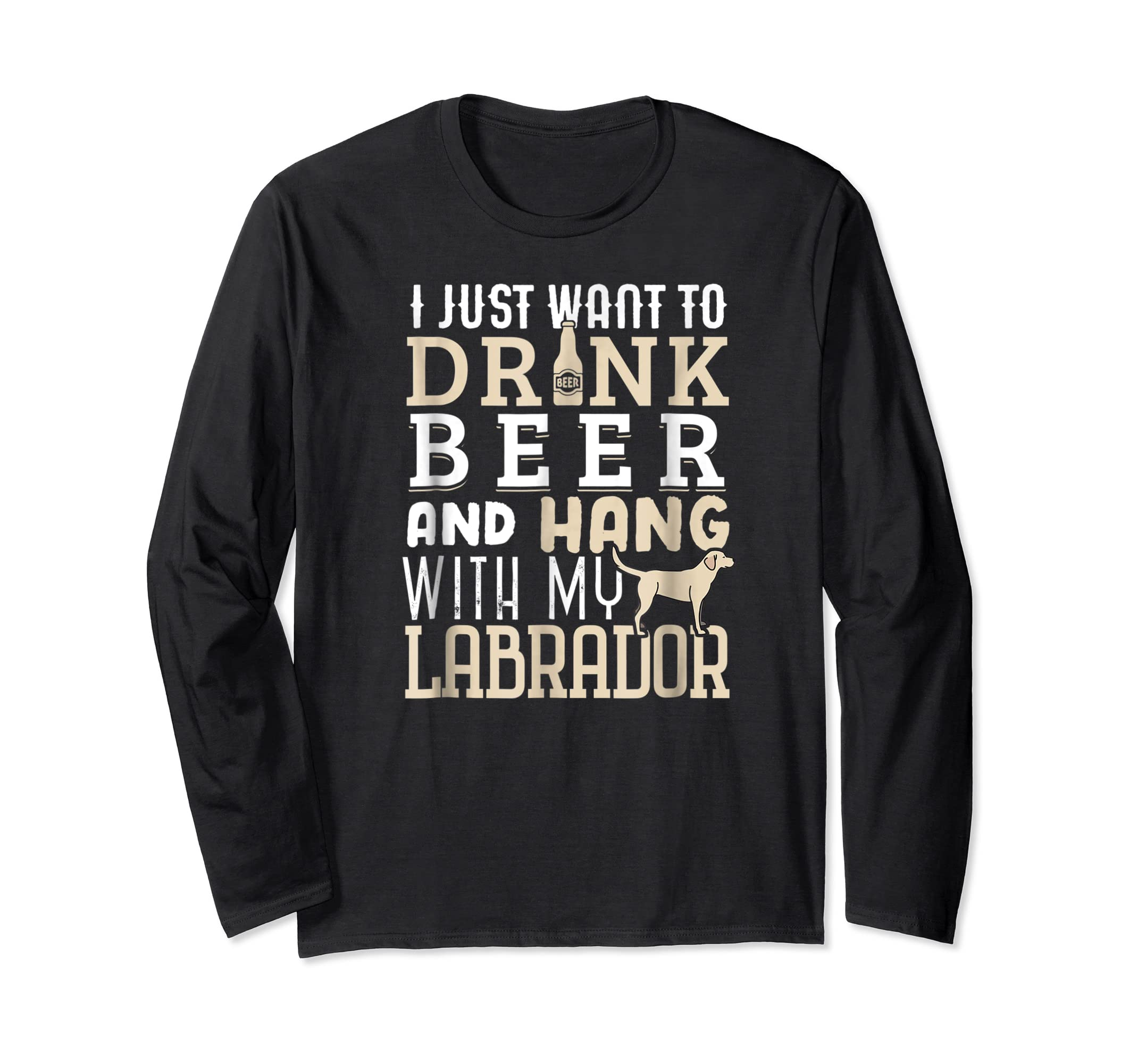 Labrador Dad Shirt Funny Father's Day Lab Retriever Dog Beer-Long Sleeve-Black