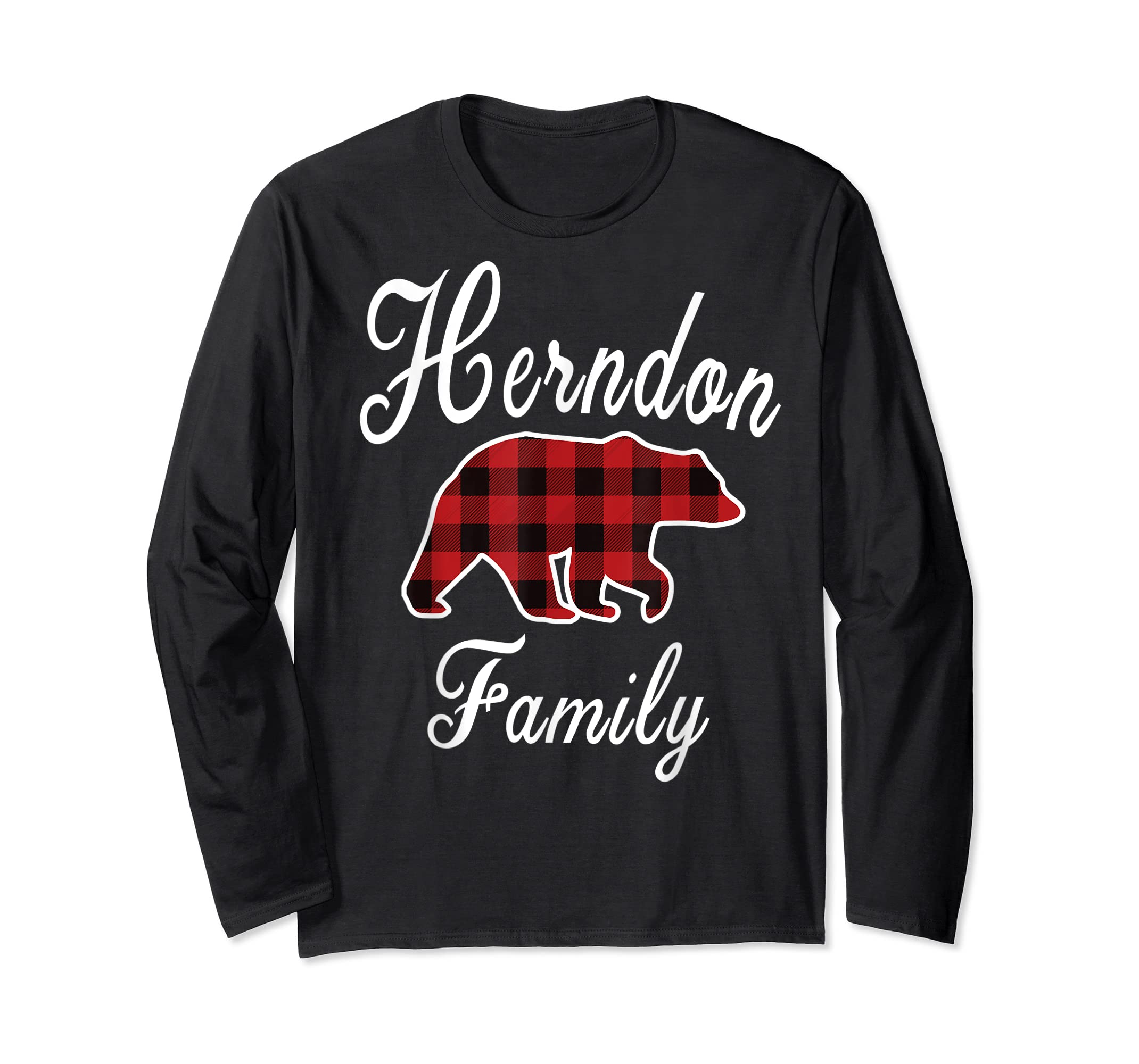 HERNDON Family Bear Red Plaid Christmas Pajama Gift T-Shirt-Long Sleeve-Black