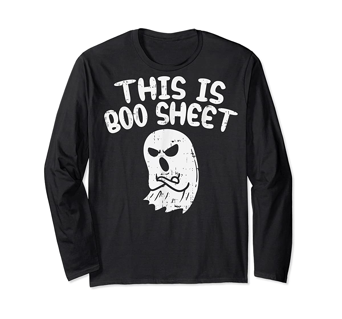 This Is Boo Sheet Ghost Pun Funny Halloween Costume Gift T-Shirt-Long Sleeve-Black