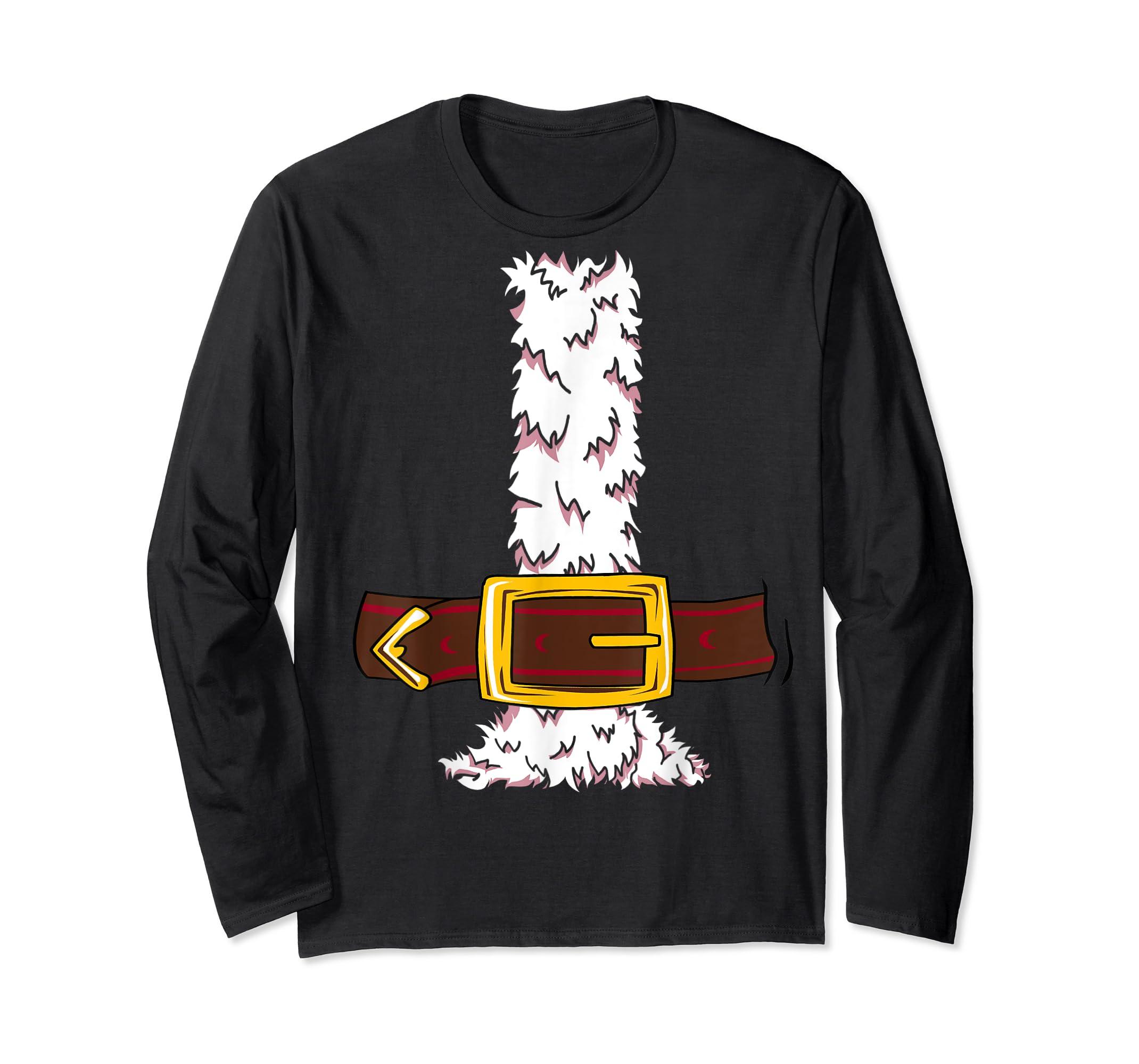 Funny Christmas gift for boys girls men women Santa costume T-Shirt-Long Sleeve-Black