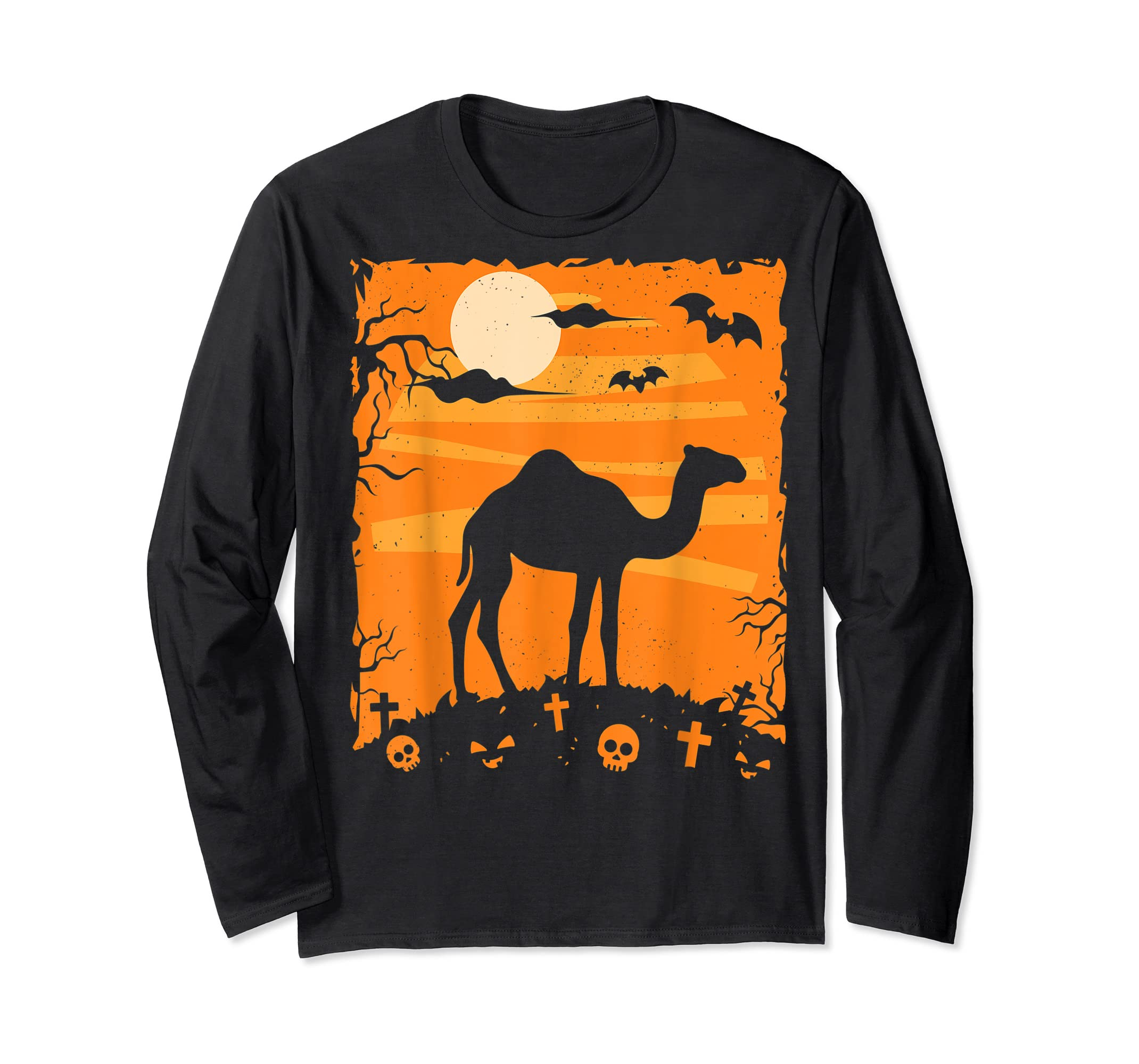 Camel Halloween Costume Animal Funny Pumpkin Outfit Gift T-Shirt-Long Sleeve-Black