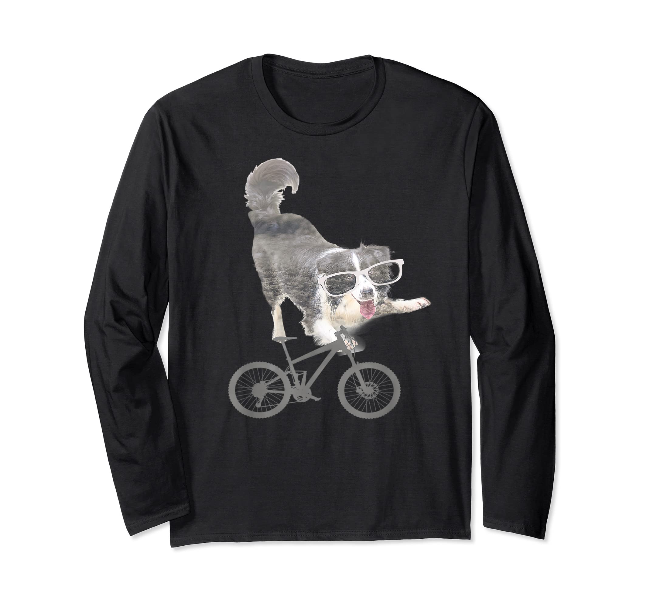 Border collie on a Bicycle T-shirt-Long Sleeve-Black