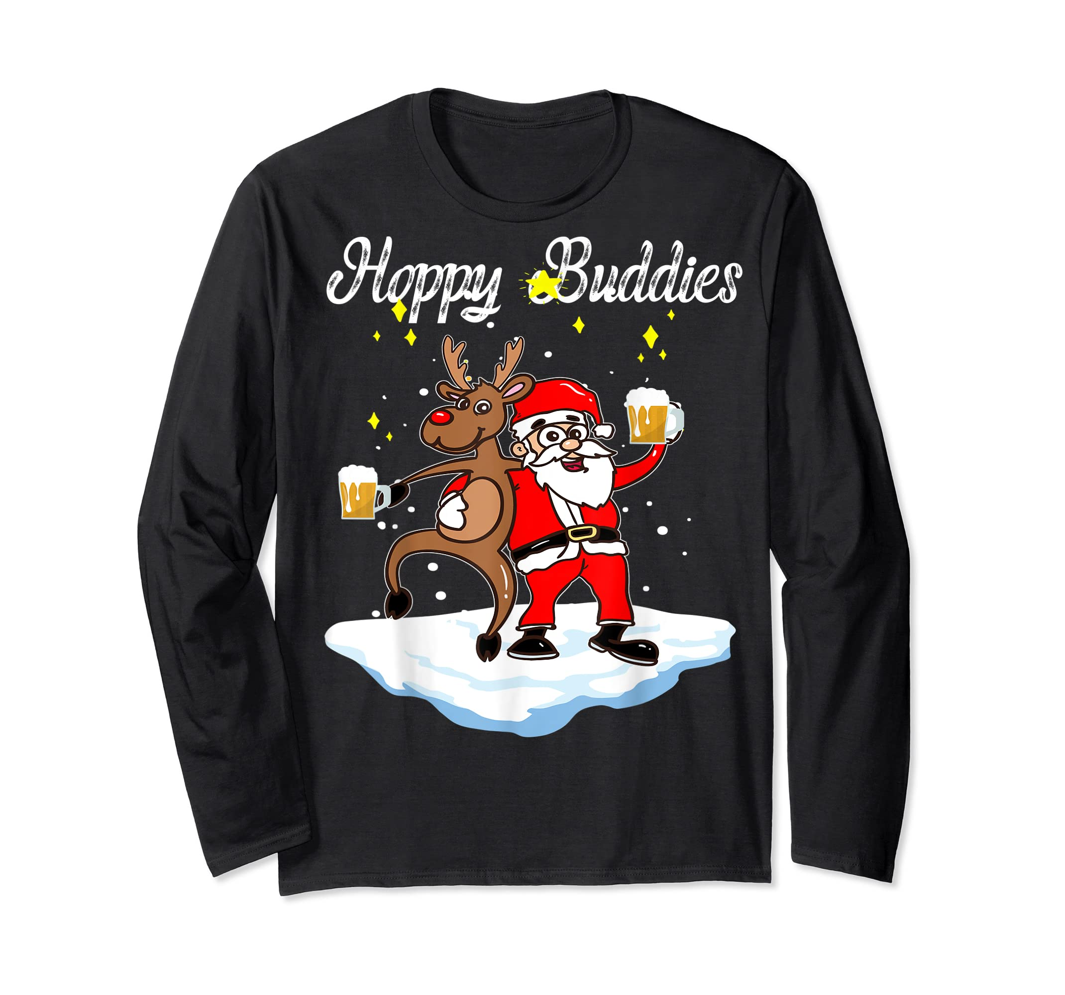 Santa Dancing Reindeer Beer Drinking T-Shirt Christmas Party T-Shirt-Long Sleeve-Black