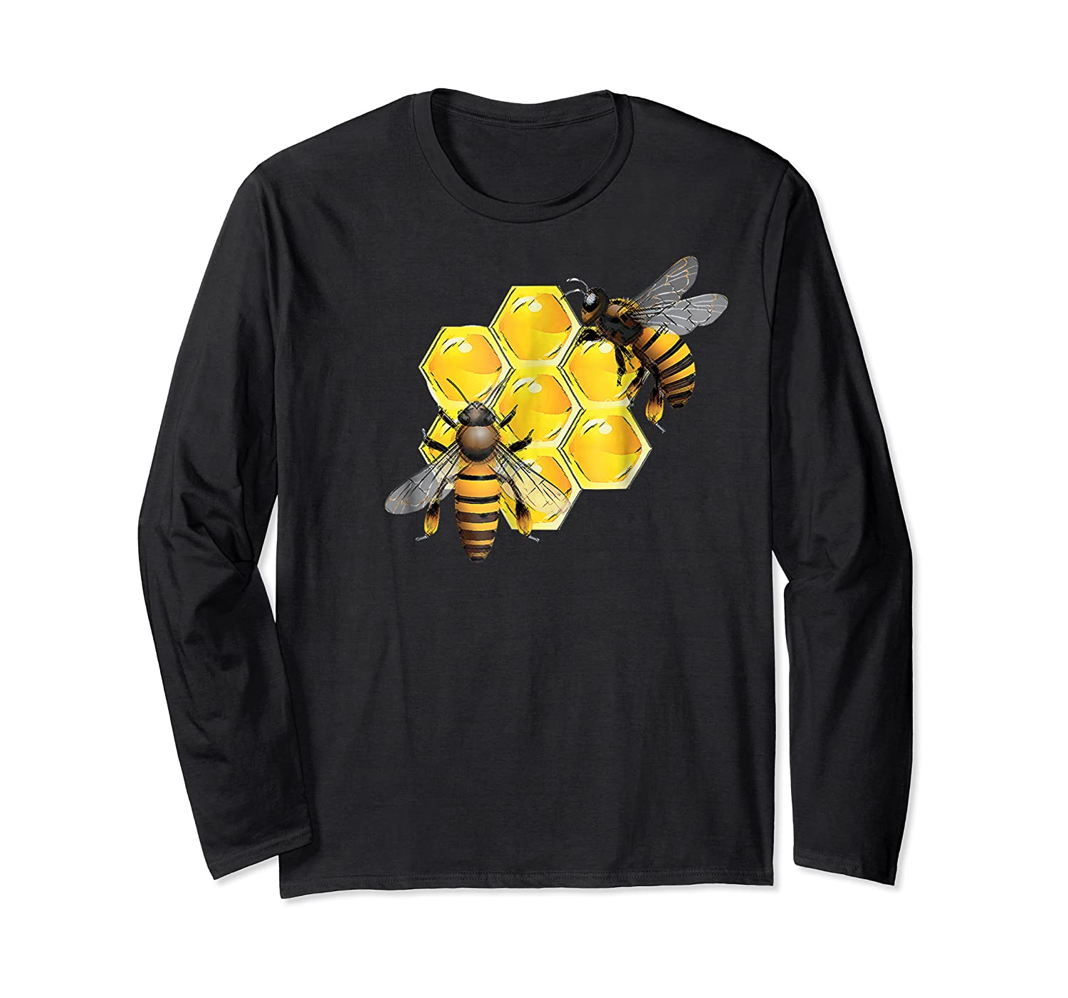 Honeycomb Pattern With Two Bees Drawing Shirts Long Sleeve T-shirt