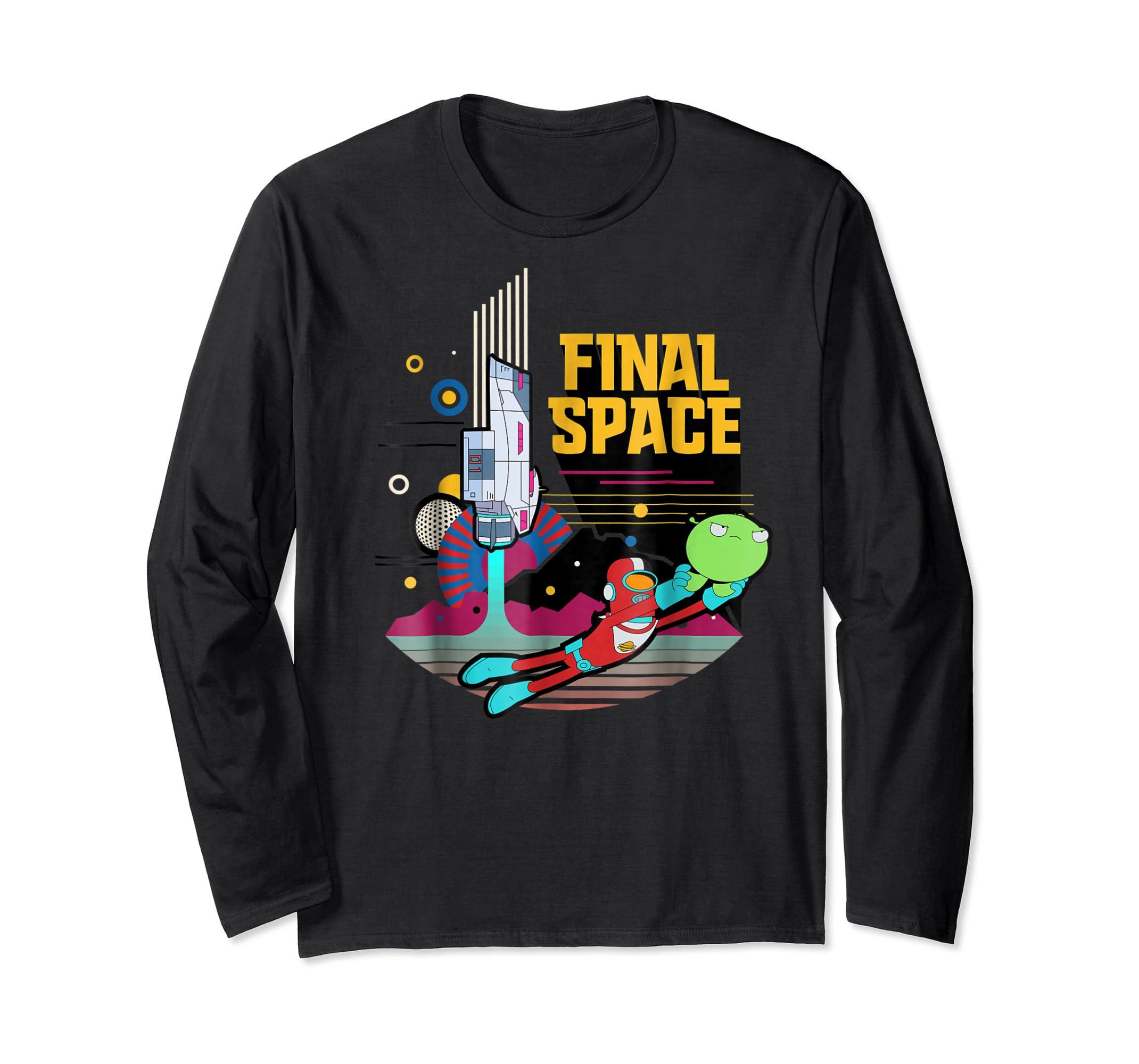 Final Space Retro Style T-shirt-Long Sleeve-Black