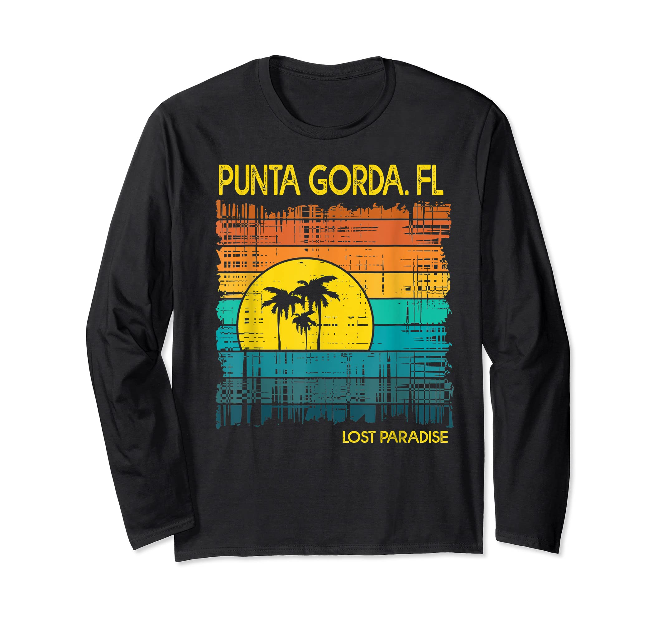 Punta Gorda Beach Florida Shirt Sunset-Long Sleeve-Black