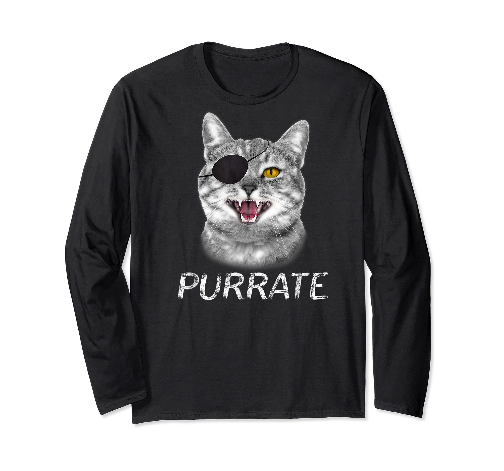 Halloween Trick Treat Cat Pirate Purrate T-Shirt-Long Sleeve-Black