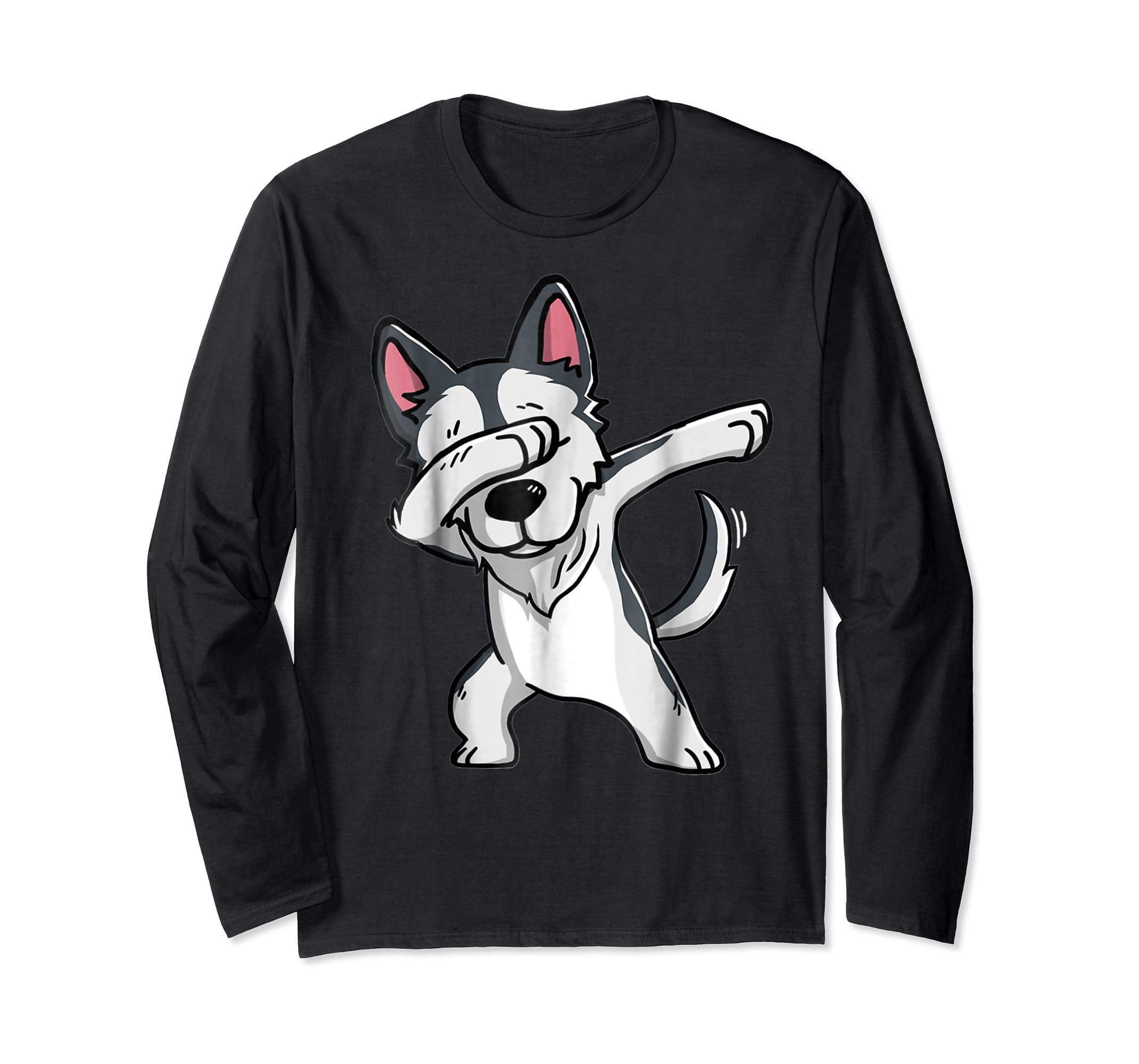 Dabbing Siberian Husky T-Shirt Husky Kids Costume-Long Sleeve-Black