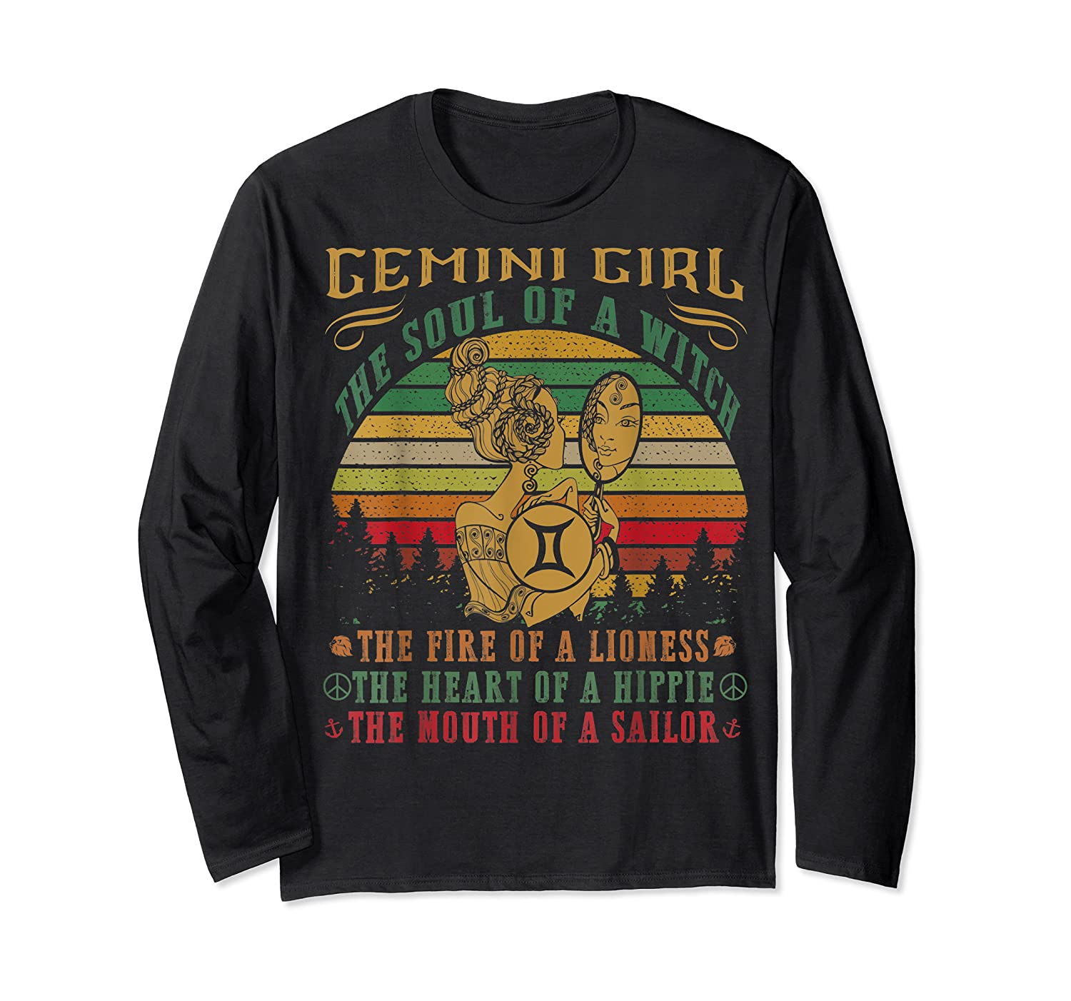 Gemini Girl The Soul Of A Witch Mouth Of A Sailor Shirts Long Sleeve T-shirt