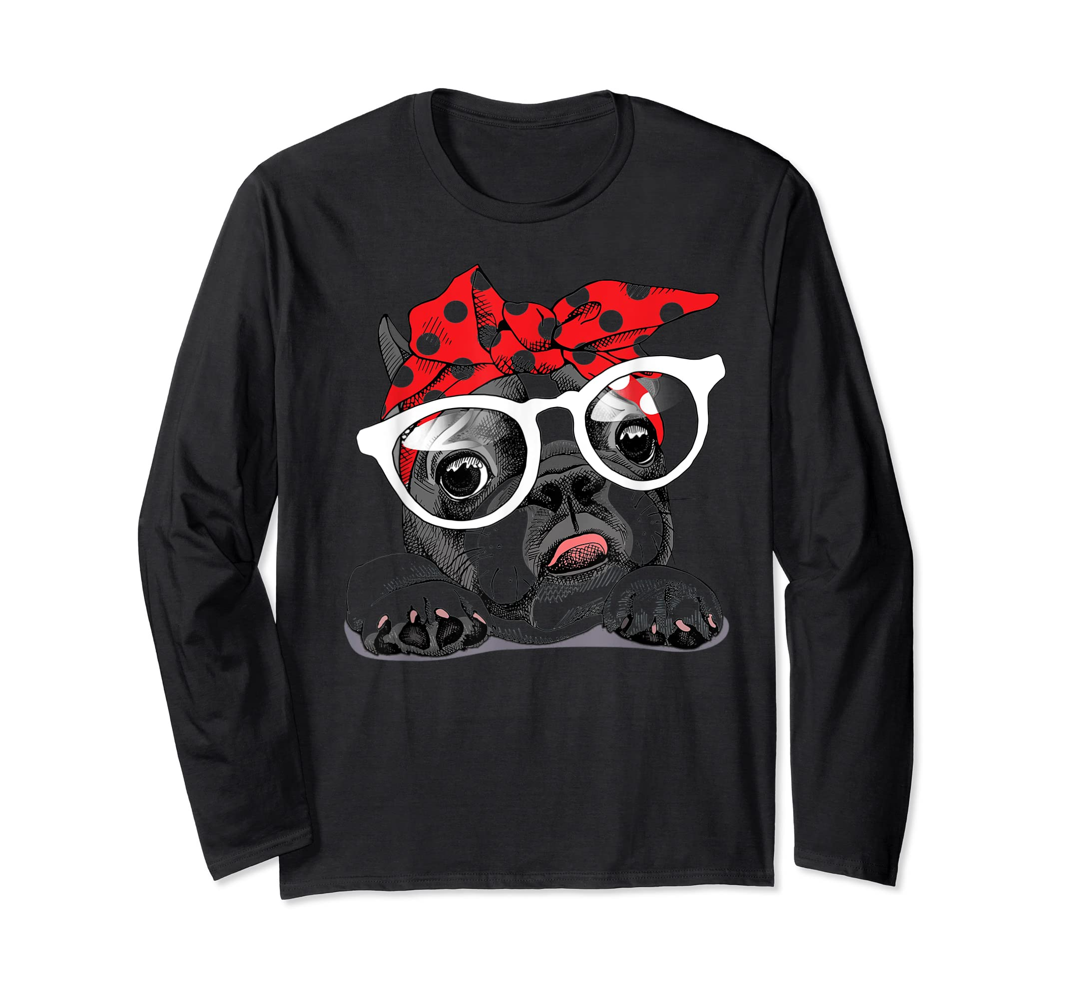 French Bulldog in a headband and with glasses T-Shirt-Long Sleeve-Black