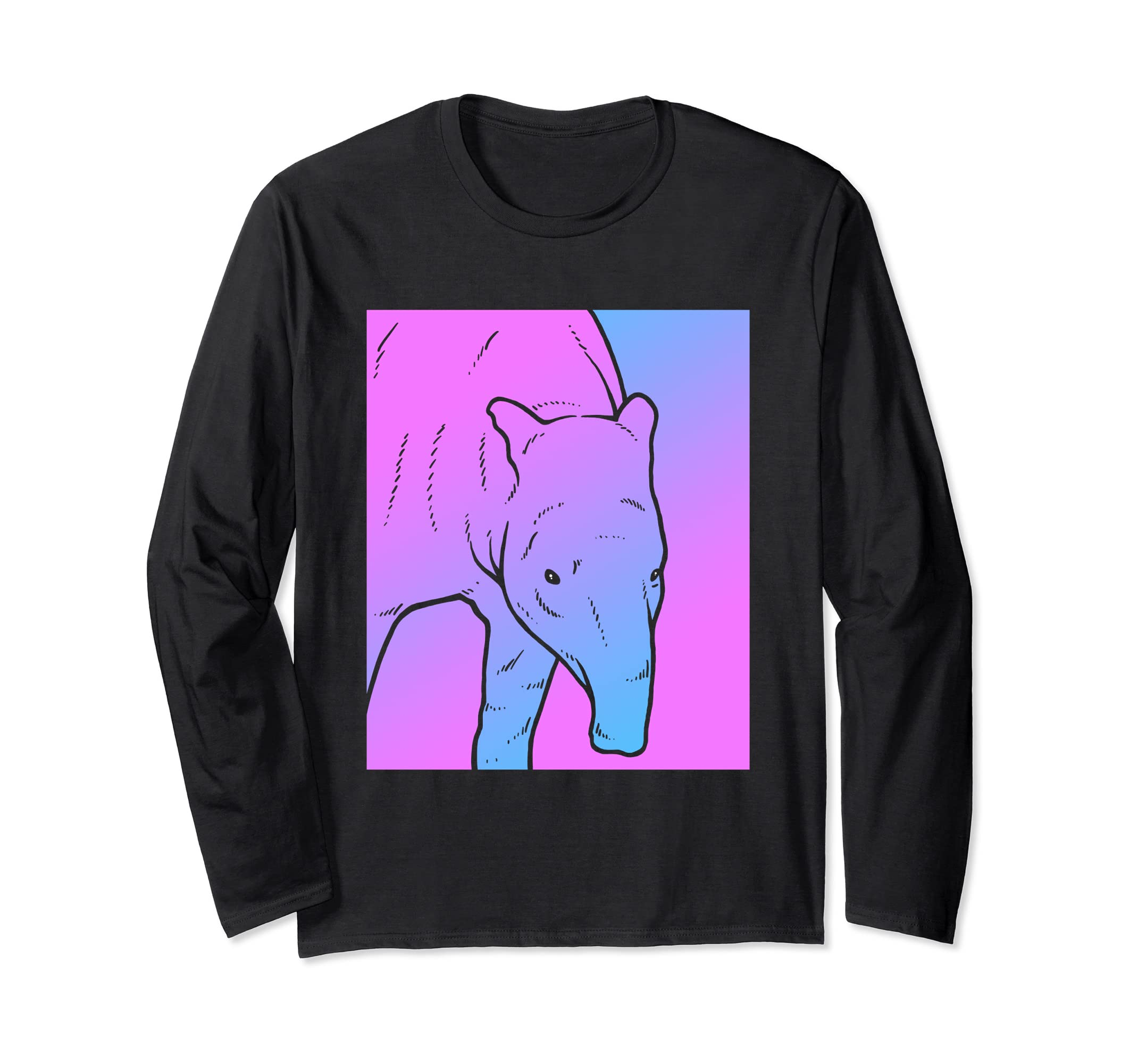 Vaporwave Tapir Aesthetic Pig Long Sleeve Shirt-Bawle