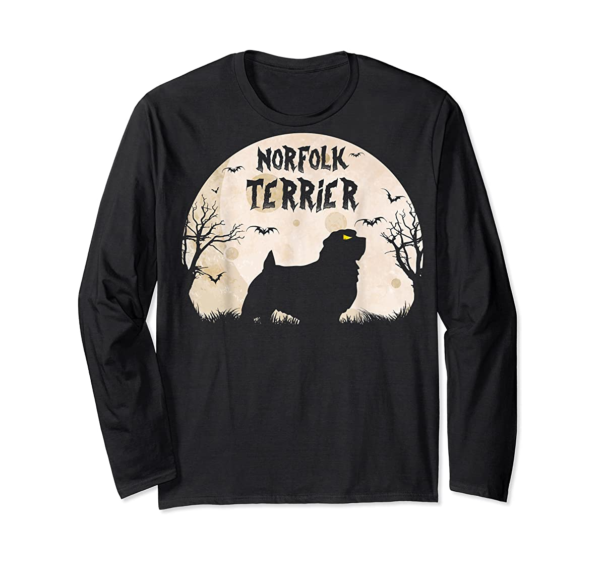 Halloween Horror Norfolk Terrier T-Shirt-Long Sleeve-Black