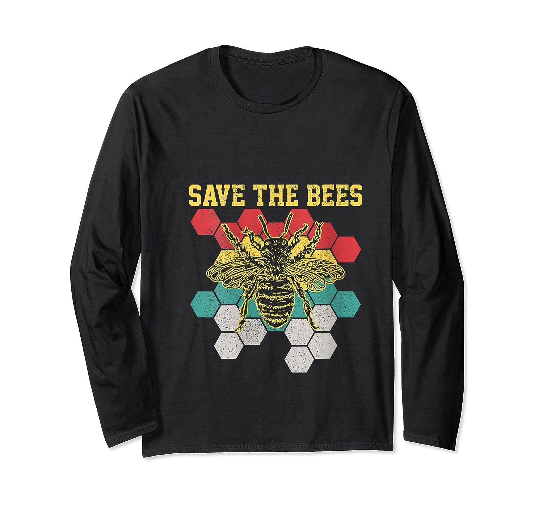 Save The Bees Vintage Retro Beekeeping Beekeeper Gift Shirts Long Sleeve T-shirt