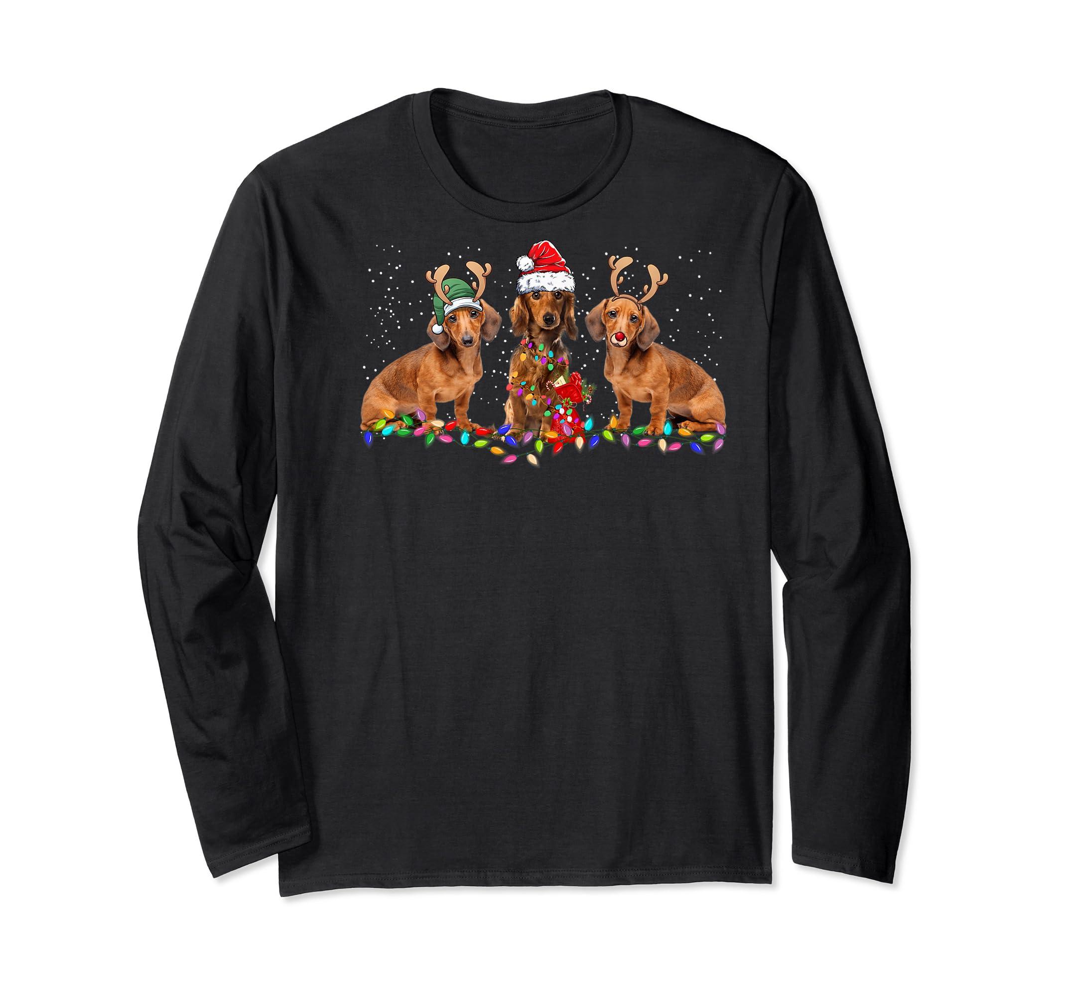 Three Dachshund Dogs Christmas Santa Hat Lights Xmas Gift Premium T-Shirt-Long Sleeve-Black