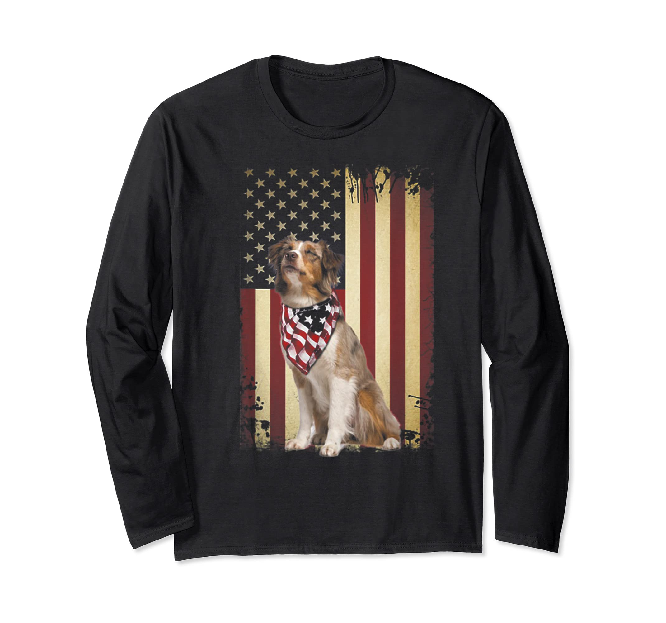 Australian shepherd smile flag American t-shirt Independence-Long Sleeve-Black